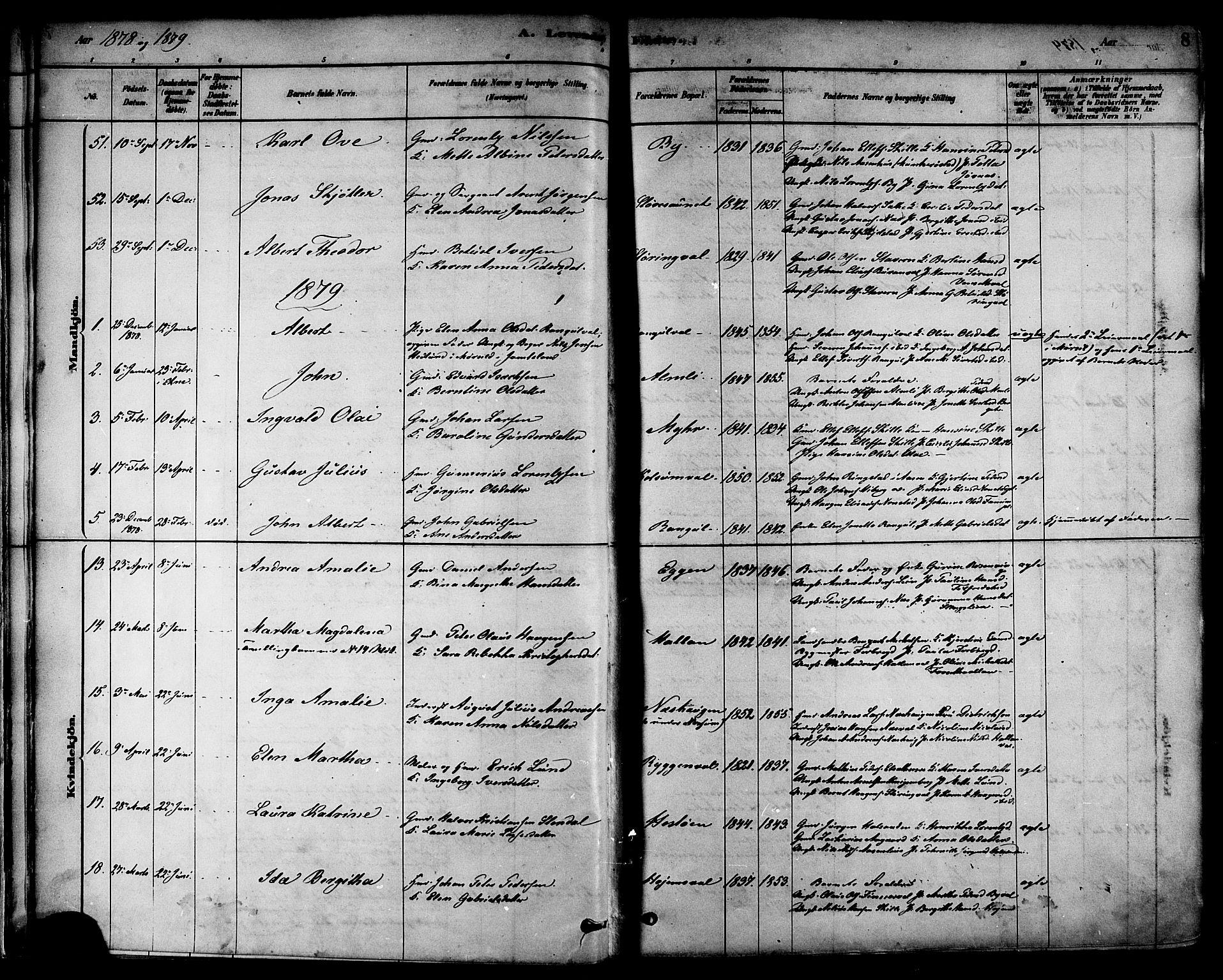 SAT, Ministerialprotokoller, klokkerbøker og fødselsregistre - Nord-Trøndelag, 717/L0159: Ministerialbok nr. 717A09, 1878-1898, s. 8
