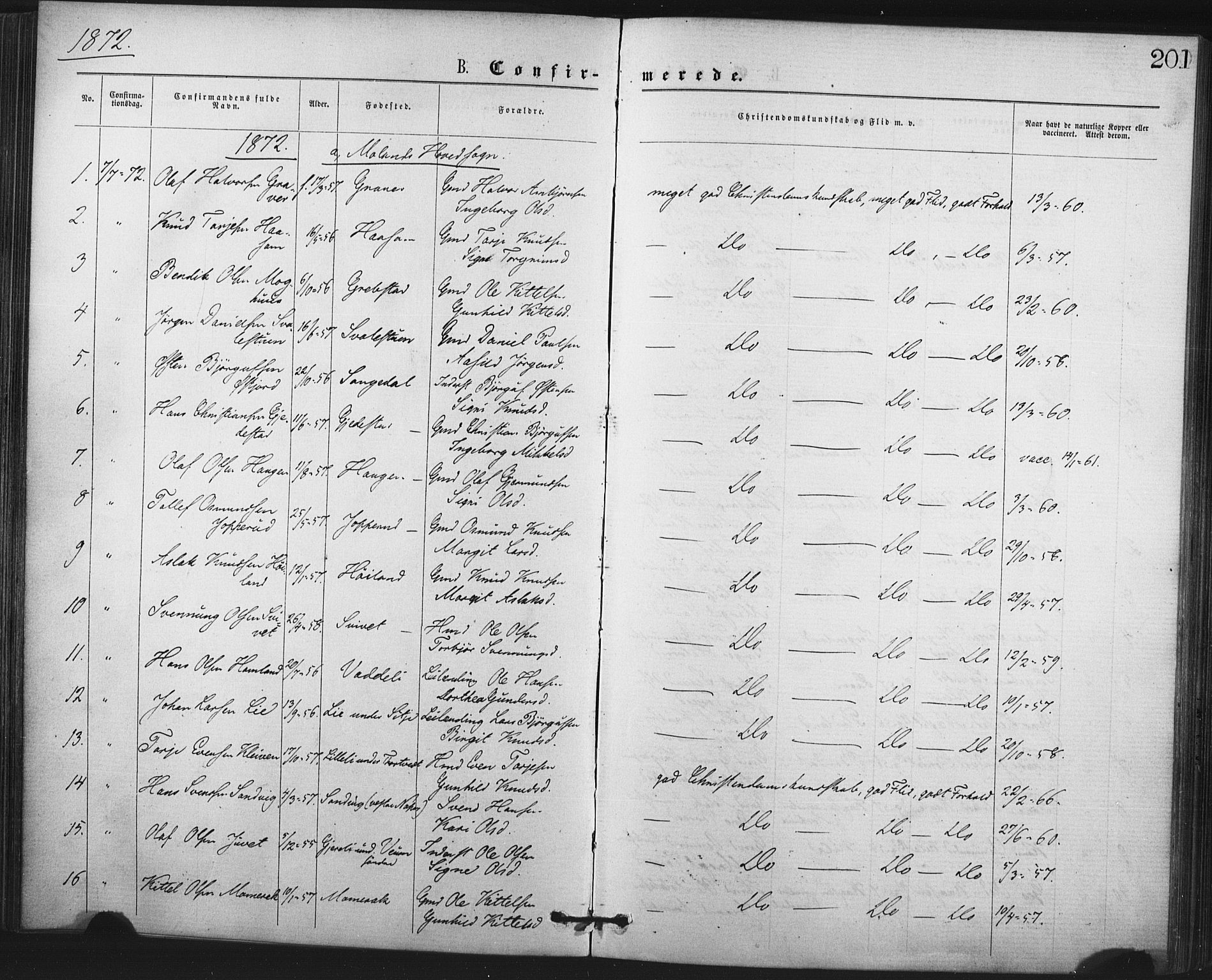 SAKO, Fyresdal kirkebøker, F/Fa/L0006: Ministerialbok nr. I 6, 1872-1886, s. 201