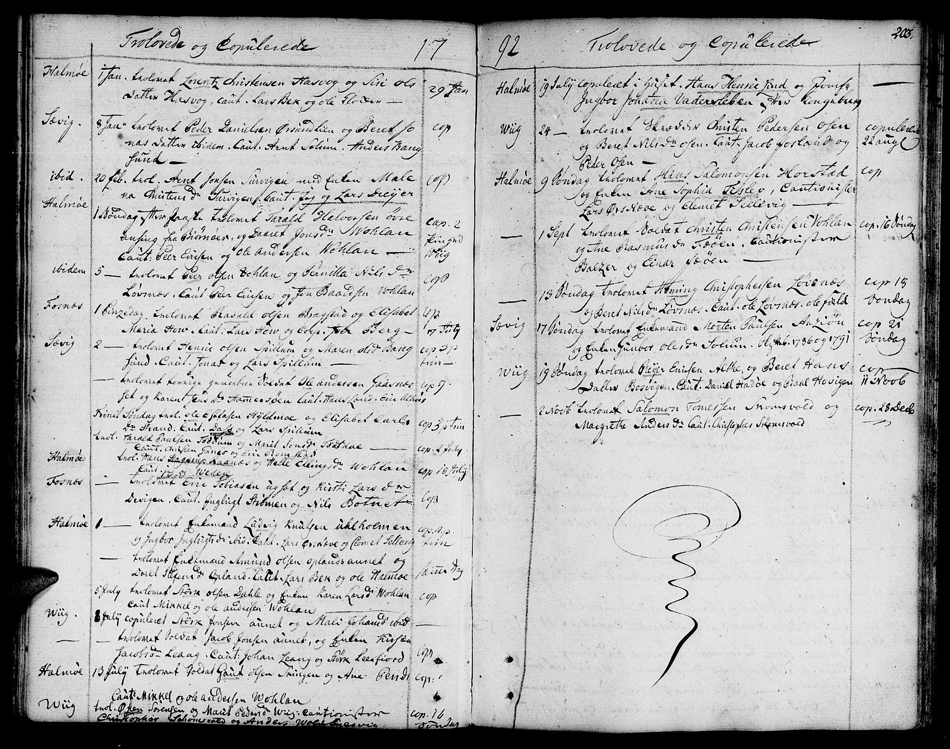 SAT, Ministerialprotokoller, klokkerbøker og fødselsregistre - Nord-Trøndelag, 773/L0608: Ministerialbok nr. 773A02, 1784-1816, s. 203