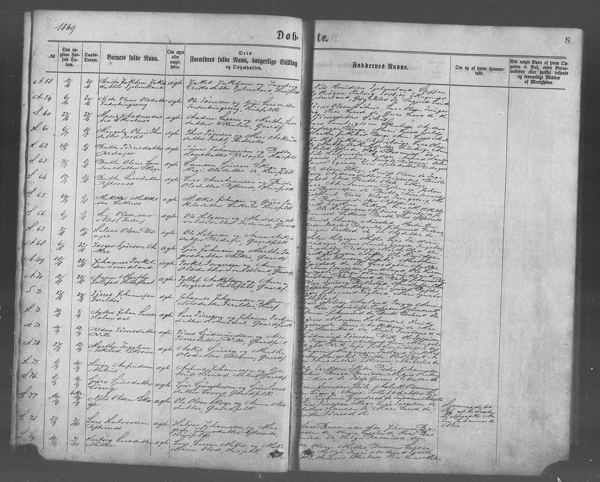 SAB, Skånevik sokneprestembete, H/Haa: Ministerialbok nr. A 6, 1869-1878, s. 8