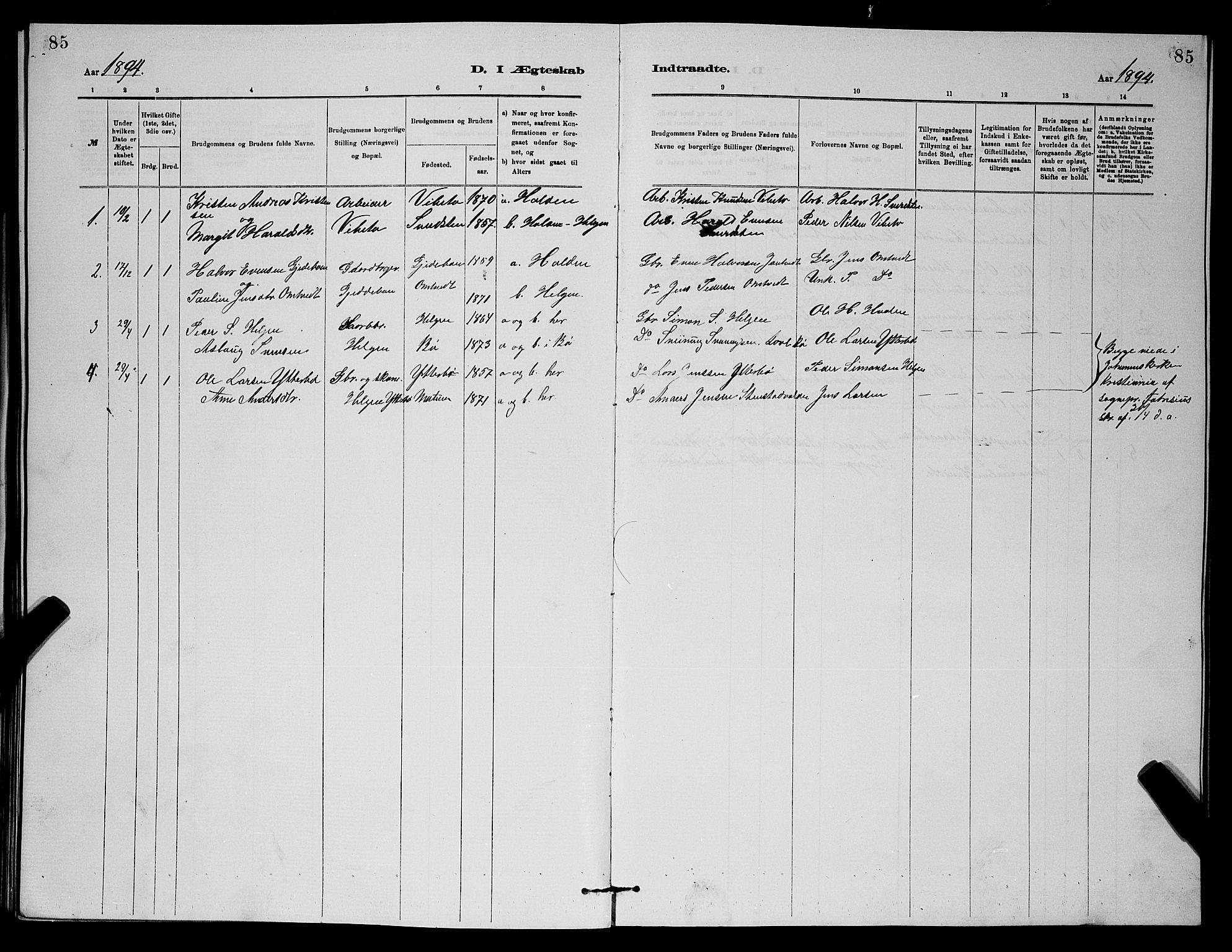 SAKO, Holla kirkebøker, G/Gb/L0001: Klokkerbok nr. II 1, 1882-1897, s. 85