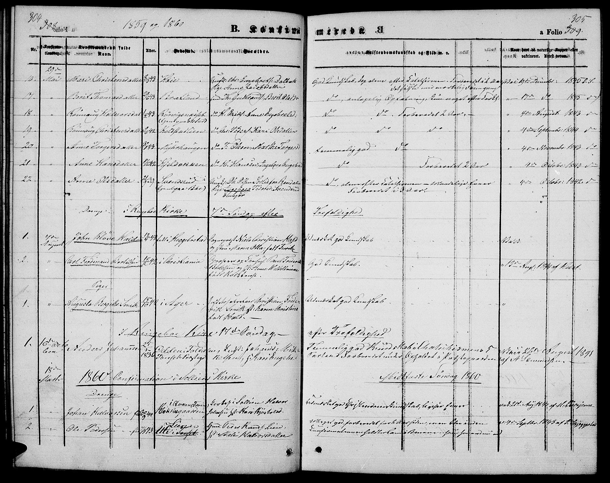 SAH, Ringebu prestekontor, Klokkerbok nr. 3, 1854-1866, s. 304-305