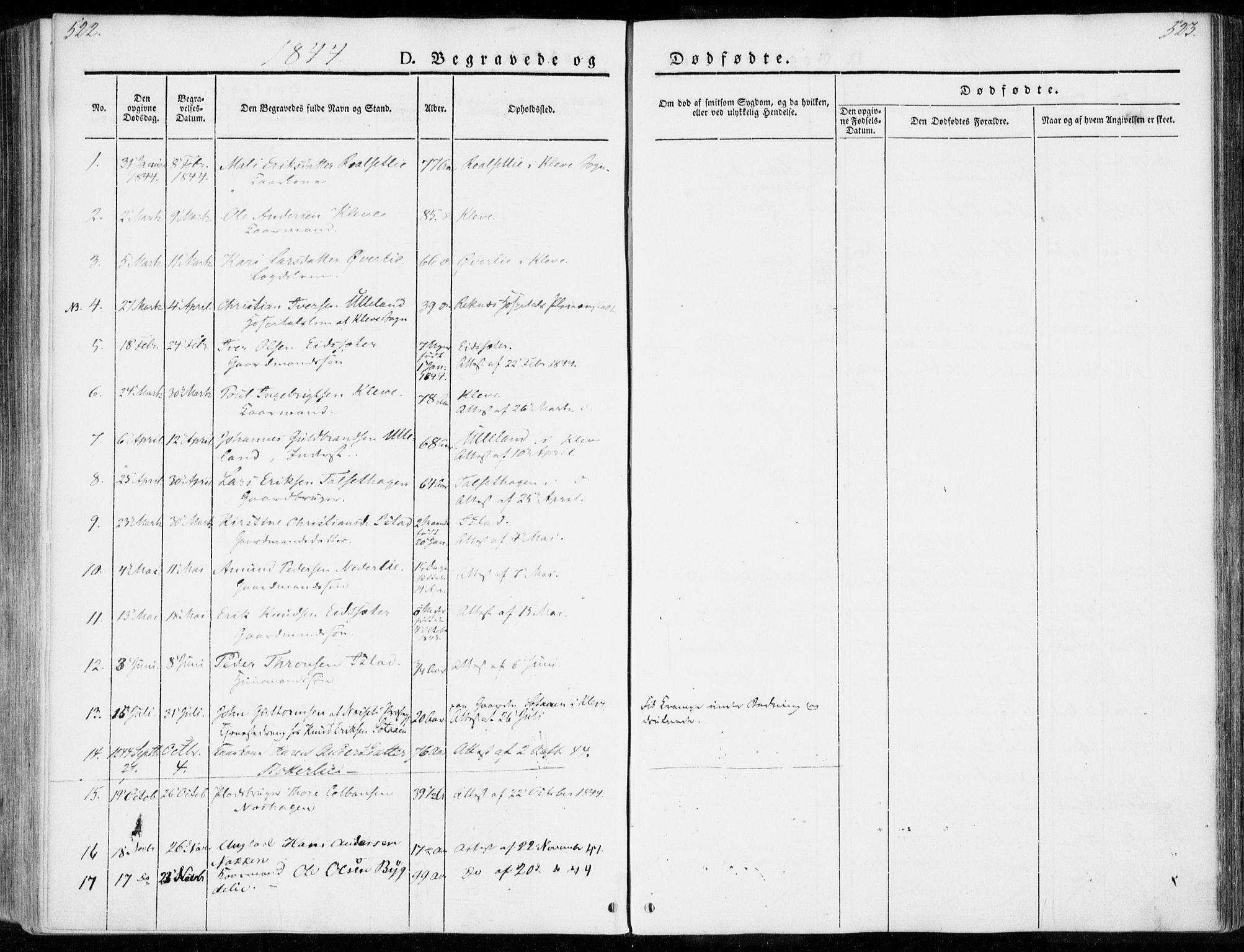 SAT, Ministerialprotokoller, klokkerbøker og fødselsregistre - Møre og Romsdal, 557/L0680: Ministerialbok nr. 557A02, 1843-1869, s. 522-523