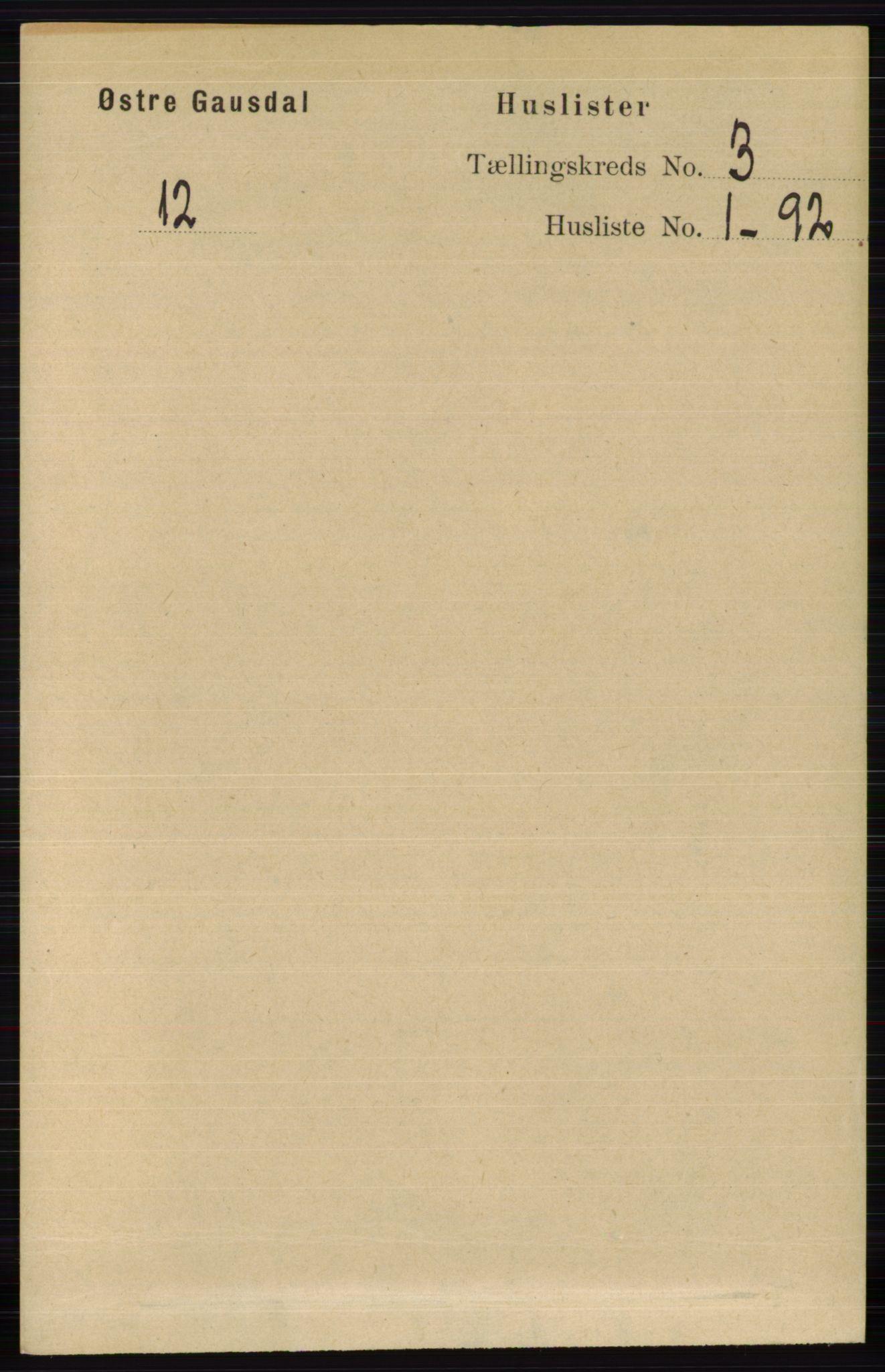 RA, Folketelling 1891 for 0522 Østre Gausdal herred, 1891, s. 1608