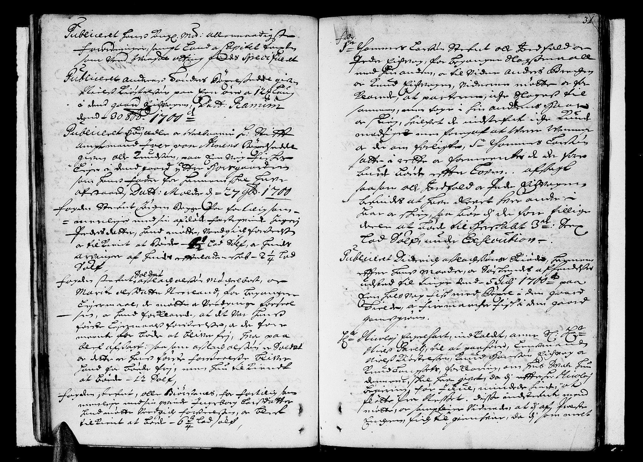 SAT, Romsdal sorenskriveri, 1/1A/L0004: Tingbok, 1700-1705, s. 30b-31a
