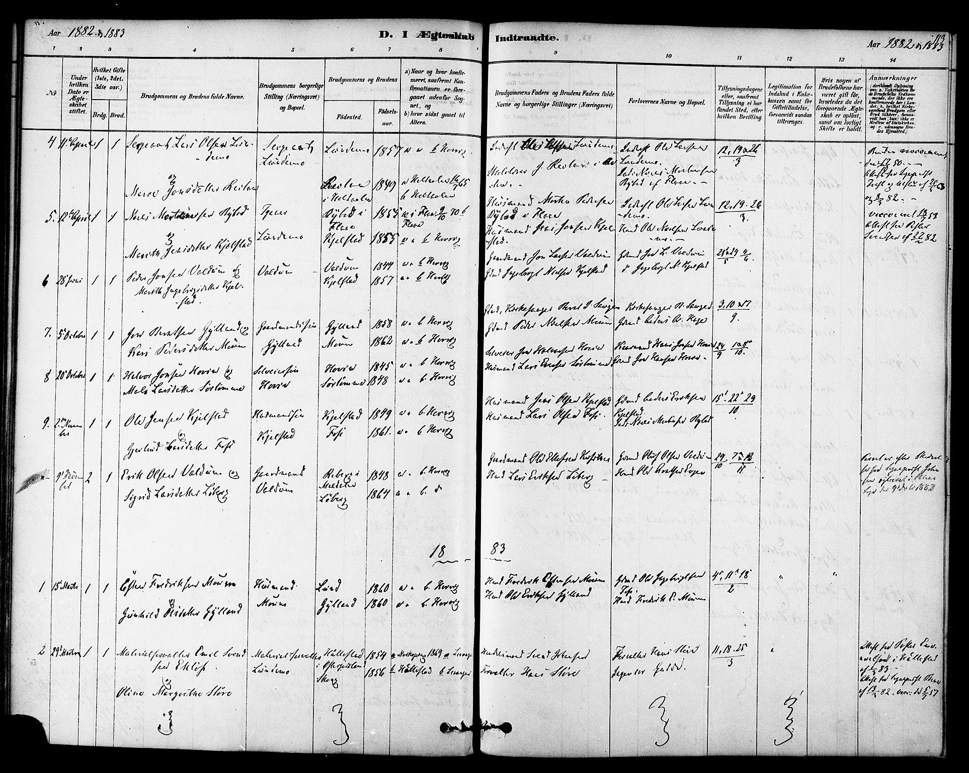 SAT, Ministerialprotokoller, klokkerbøker og fødselsregistre - Sør-Trøndelag, 692/L1105: Ministerialbok nr. 692A05, 1878-1890, s. 113