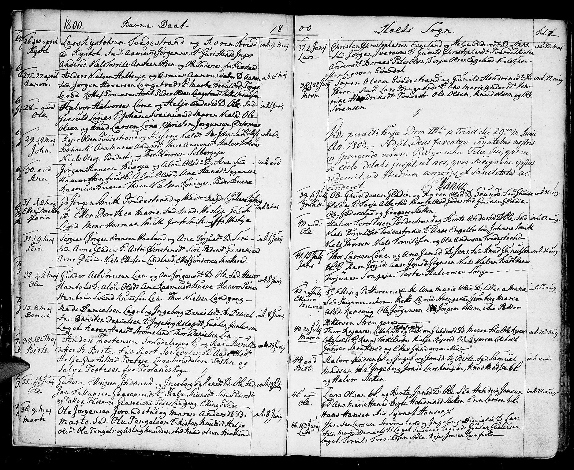 SAK, Holt sokneprestkontor, F/Fa/L0004: Ministerialbok nr. A 4, 1799-1813, s. 7