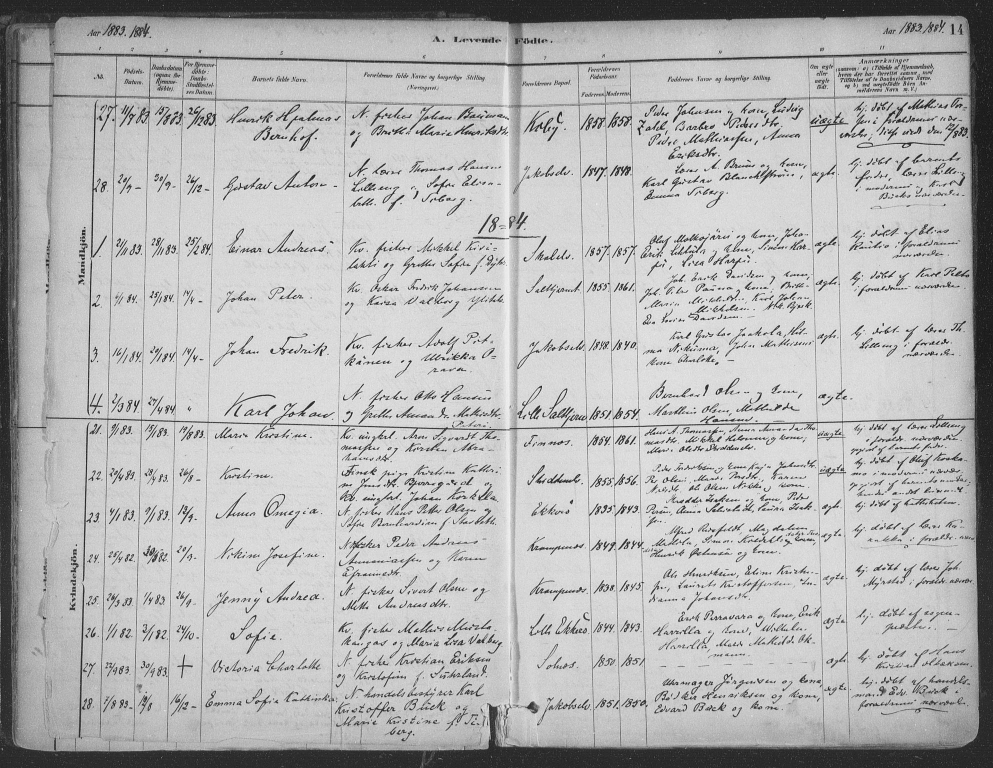 SATØ, Vadsø sokneprestkontor, H/Ha/L0009kirke: Ministerialbok nr. 9, 1881-1917, s. 14