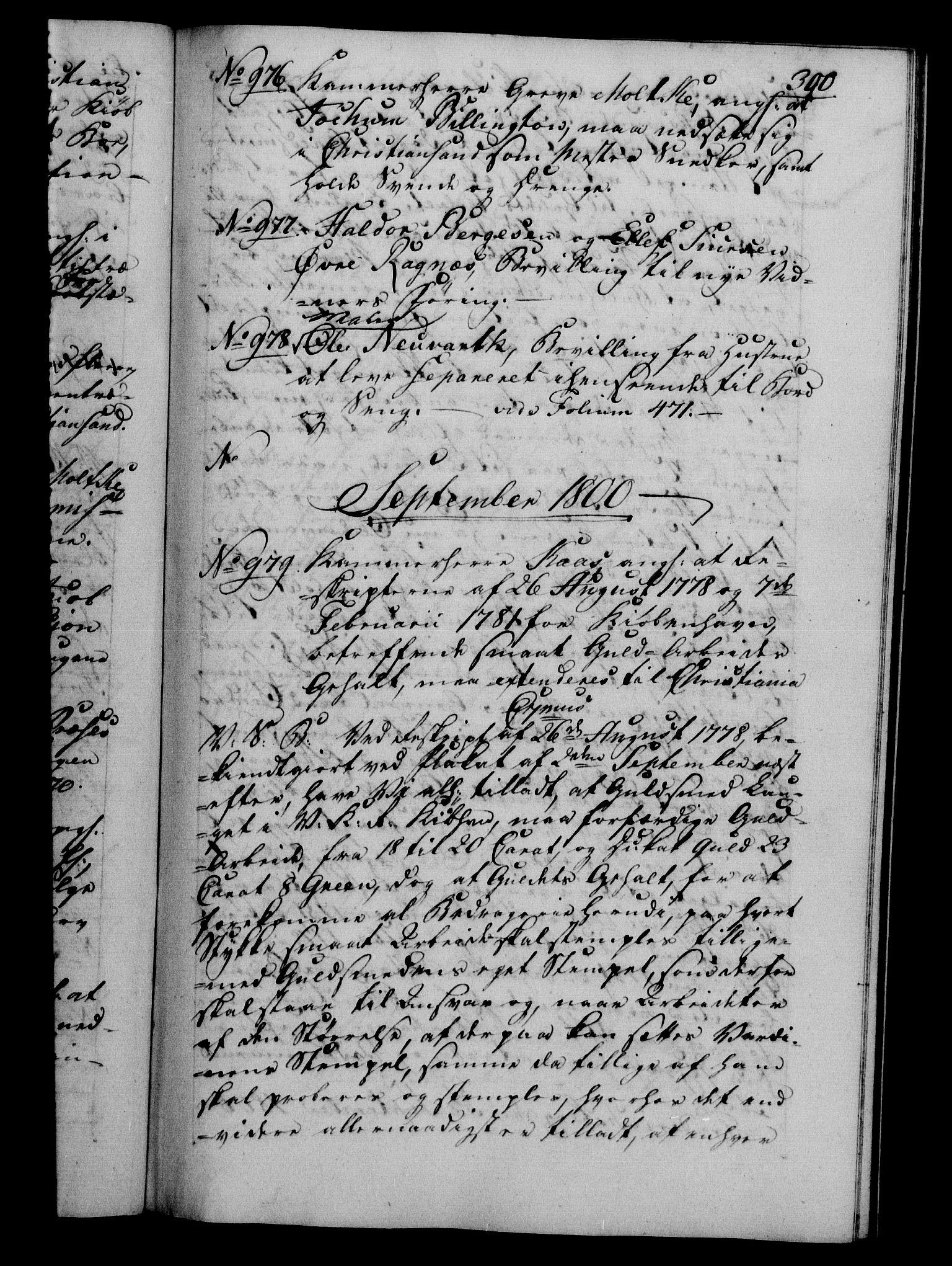 RA, Danske Kanselli 1800-1814, H/Hf/Hfb/Hfba/L0001: Registranter, 1800-1801, s. 300a