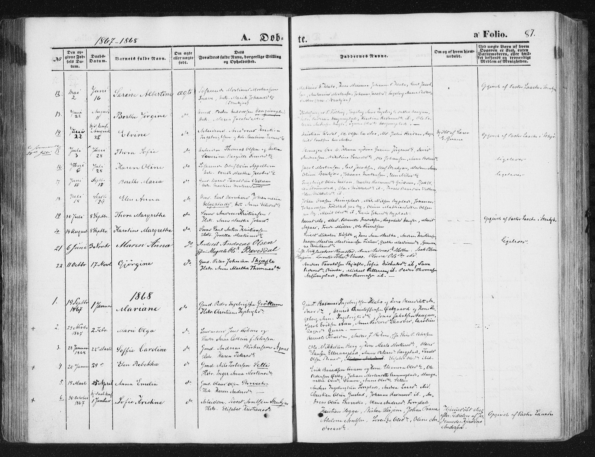 SAT, Ministerialprotokoller, klokkerbøker og fødselsregistre - Nord-Trøndelag, 746/L0447: Ministerialbok nr. 746A06, 1860-1877, s. 87