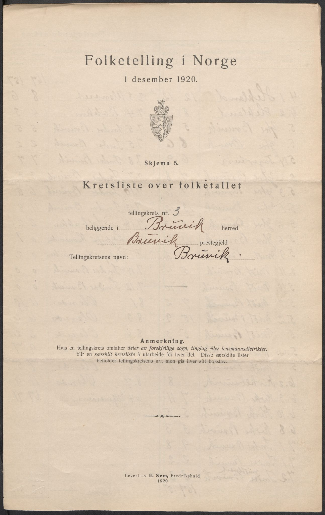 SAB, Folketelling 1920 for 1251 Bruvik herred, 1920, s. 12