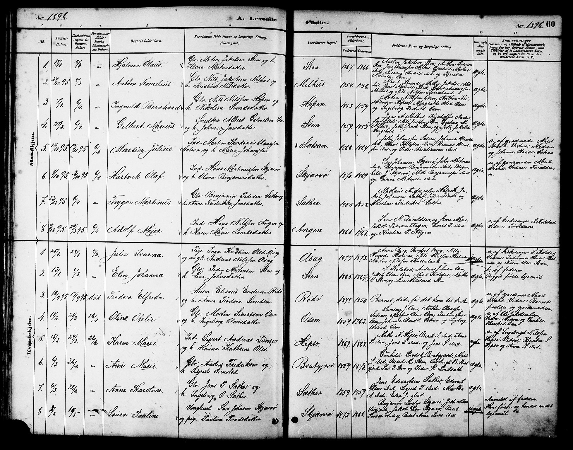 SAT, Ministerialprotokoller, klokkerbøker og fødselsregistre - Sør-Trøndelag, 658/L0726: Klokkerbok nr. 658C02, 1883-1908, s. 60