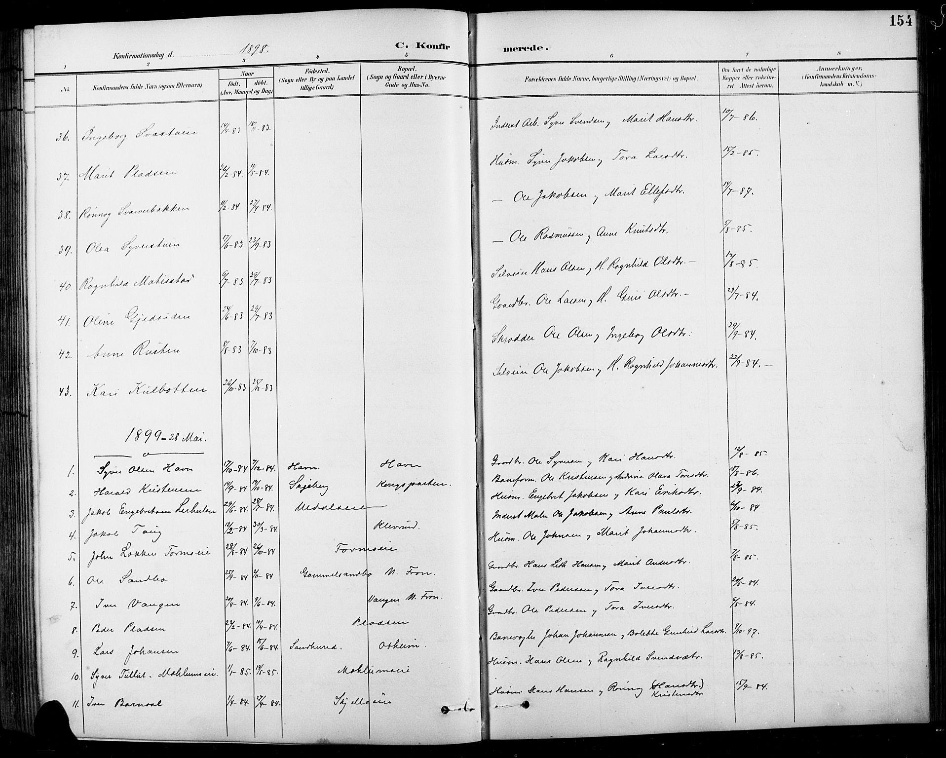SAH, Sel prestekontor, Klokkerbok nr. 1, 1894-1923, s. 154