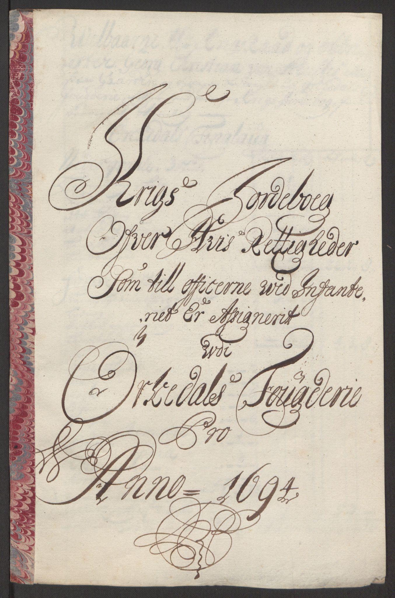 RA, Rentekammeret inntil 1814, Reviderte regnskaper, Fogderegnskap, R60/L3944: Fogderegnskap Orkdal og Gauldal, 1694, s. 182