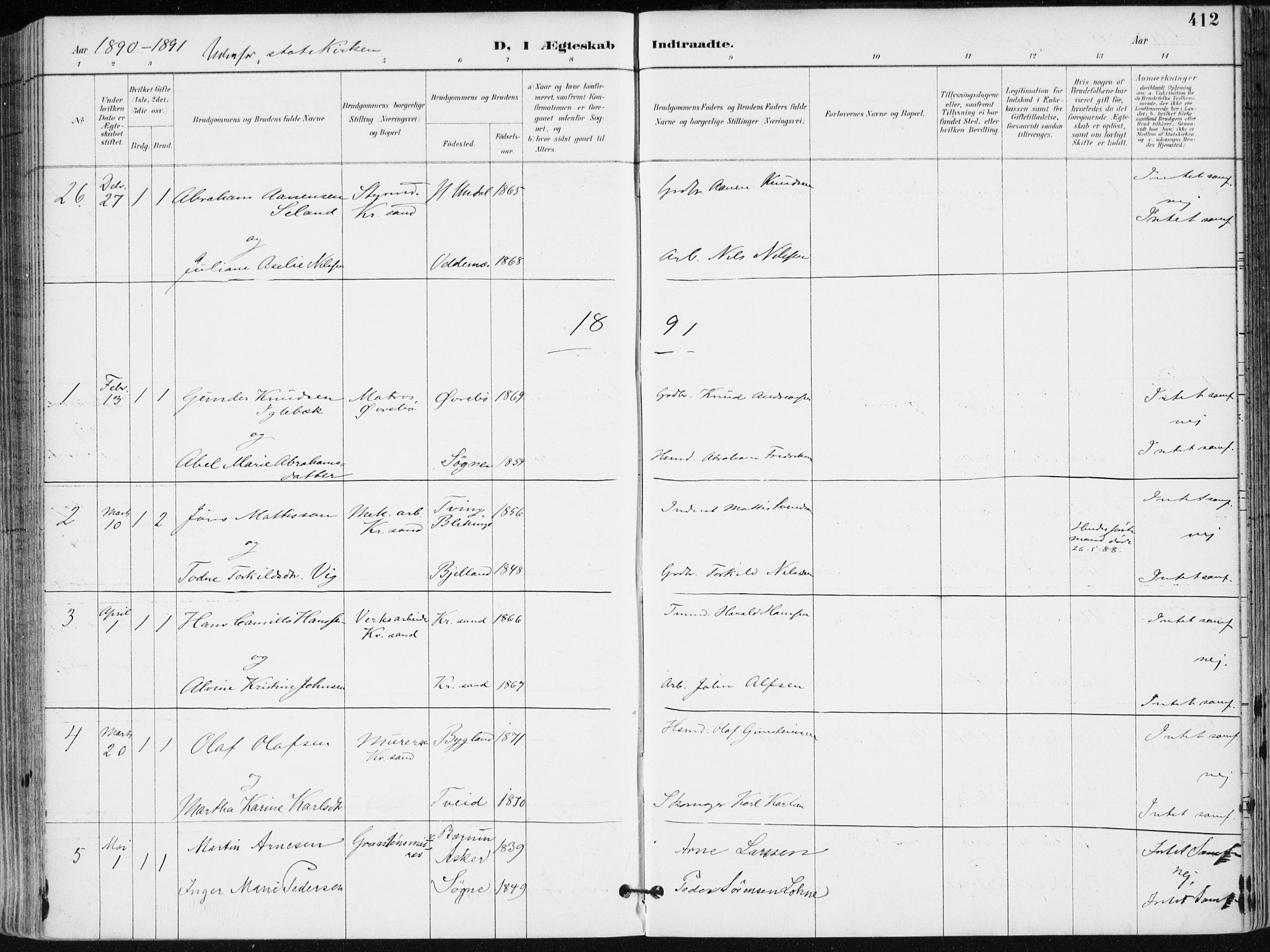 SAK, Kristiansand domprosti, F/Fa/L0019: Ministerialbok nr. A 18, 1890-1897, s. 412