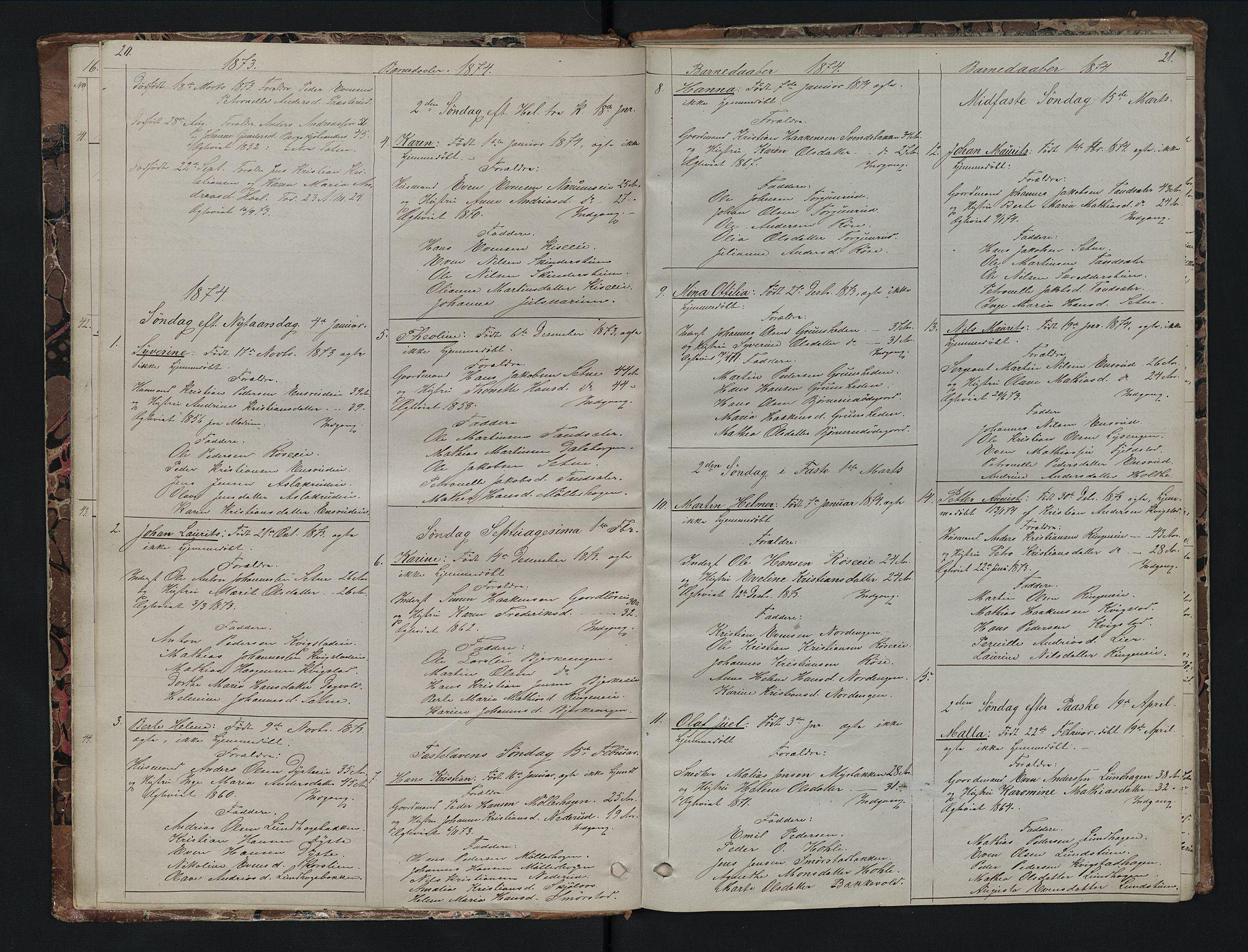 SAH, Vestre Toten prestekontor, Klokkerbok nr. 7, 1872-1900, s. 20-21