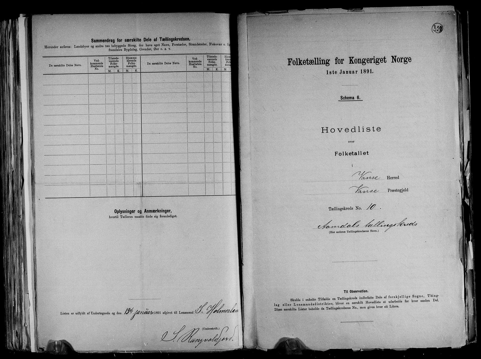 RA, Folketelling 1891 for 1041 Vanse herred, 1891, s. 36