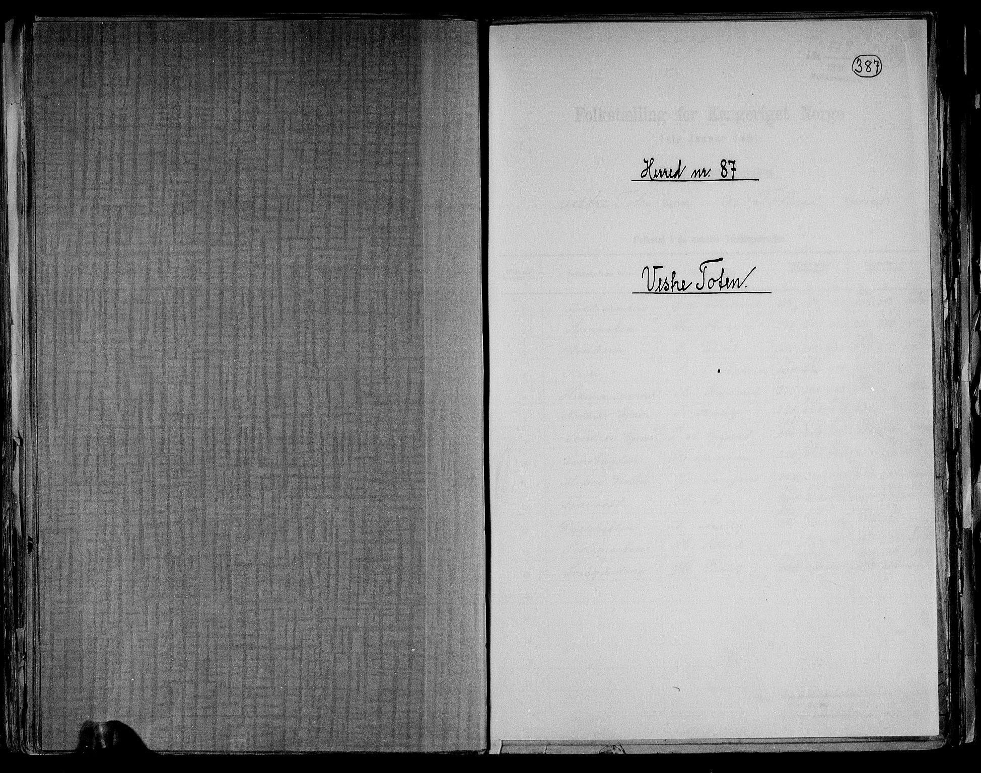 RA, Folketelling 1891 for 0529 Vestre Toten herred, 1891, s. 1