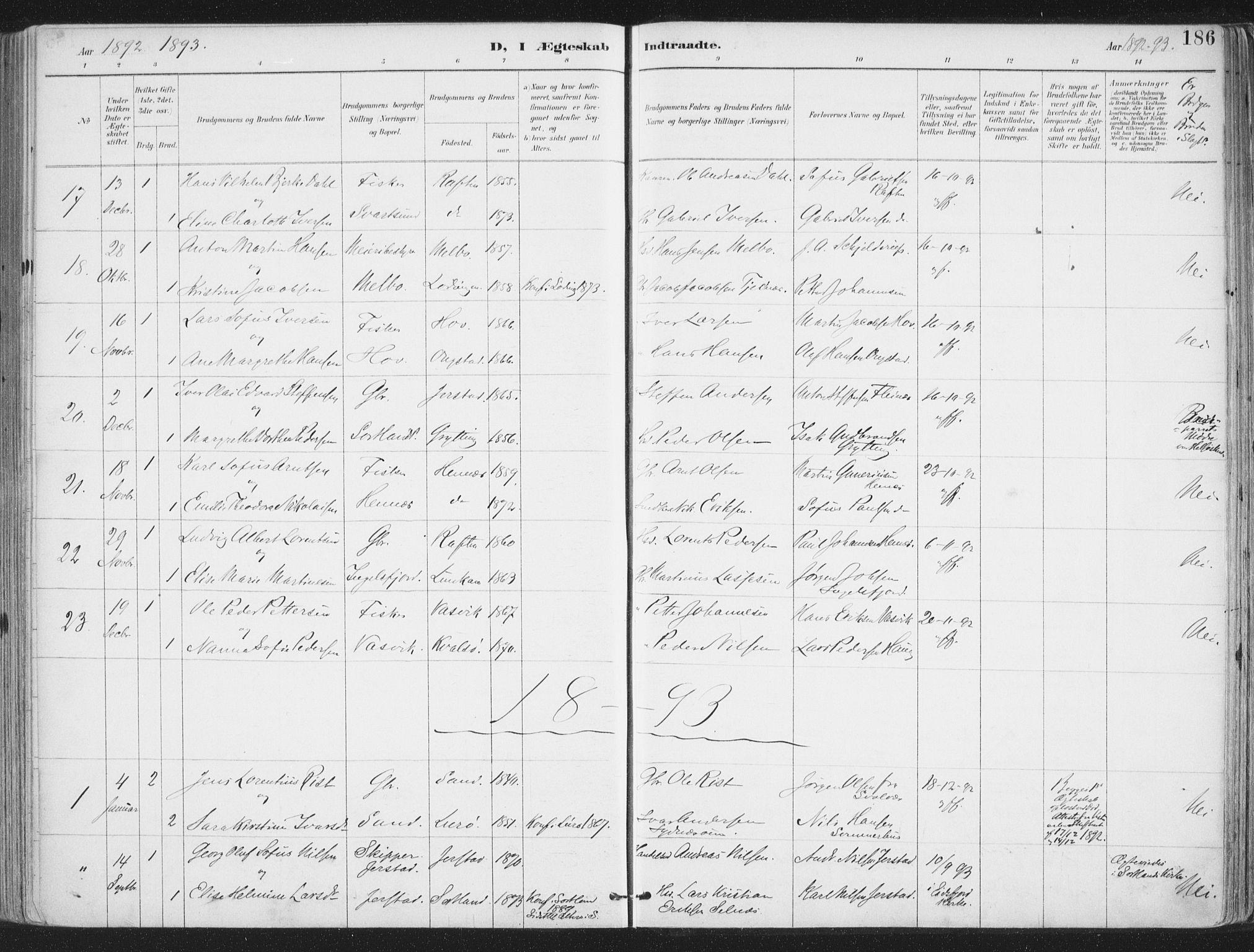 SAT, Ministerialprotokoller, klokkerbøker og fødselsregistre - Nordland, 888/L1246: Ministerialbok nr. 888A12, 1891-1903, s. 186