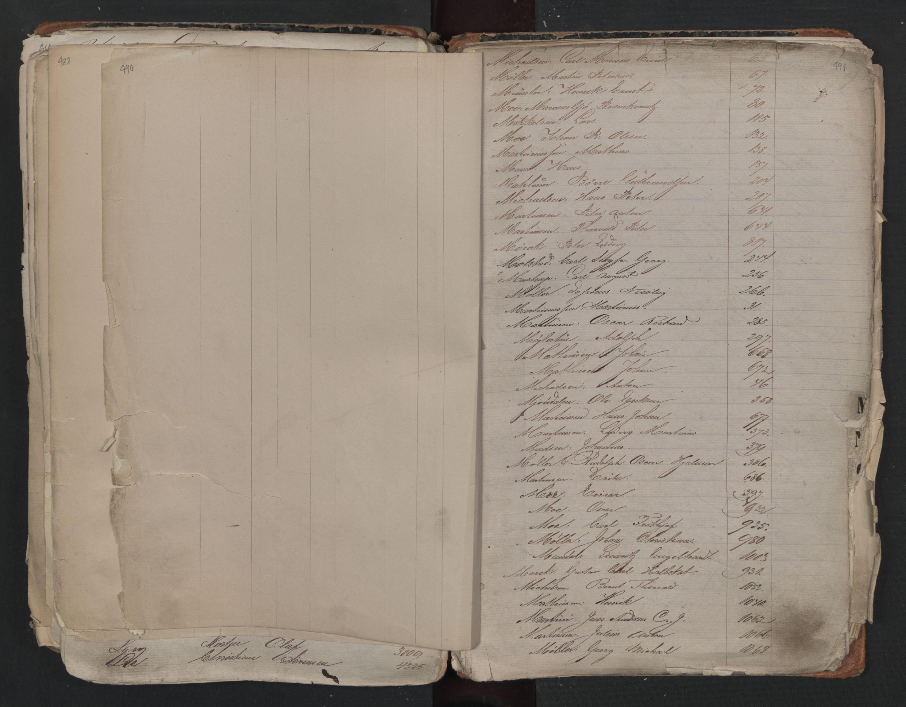 SAO, Oslo sjømannskontor, F/Fa/L0001: Register for Kristiania krets, 1866-1891, s. 490-491
