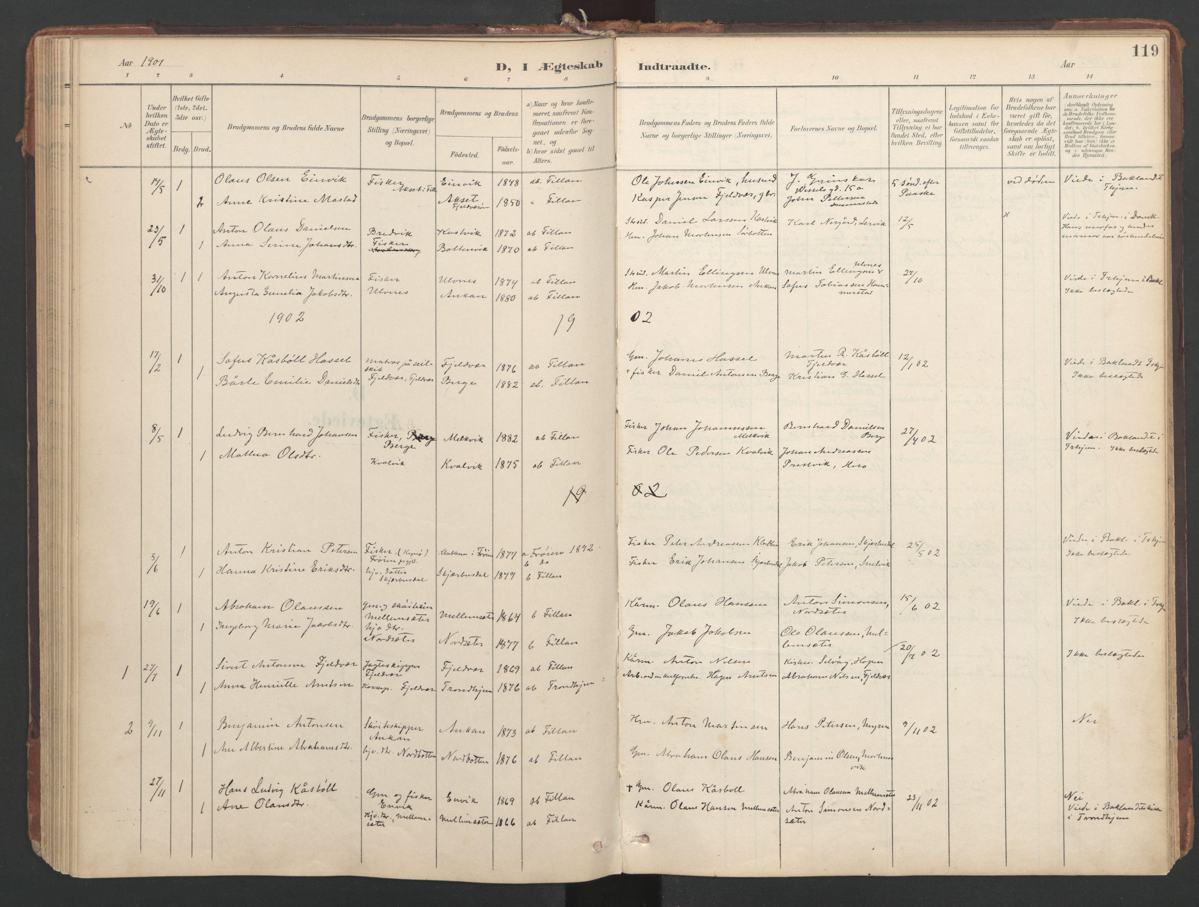 SAT, Ministerialprotokoller, klokkerbøker og fødselsregistre - Sør-Trøndelag, 638/L0568: Ministerialbok nr. 638A01, 1901-1916, s. 119
