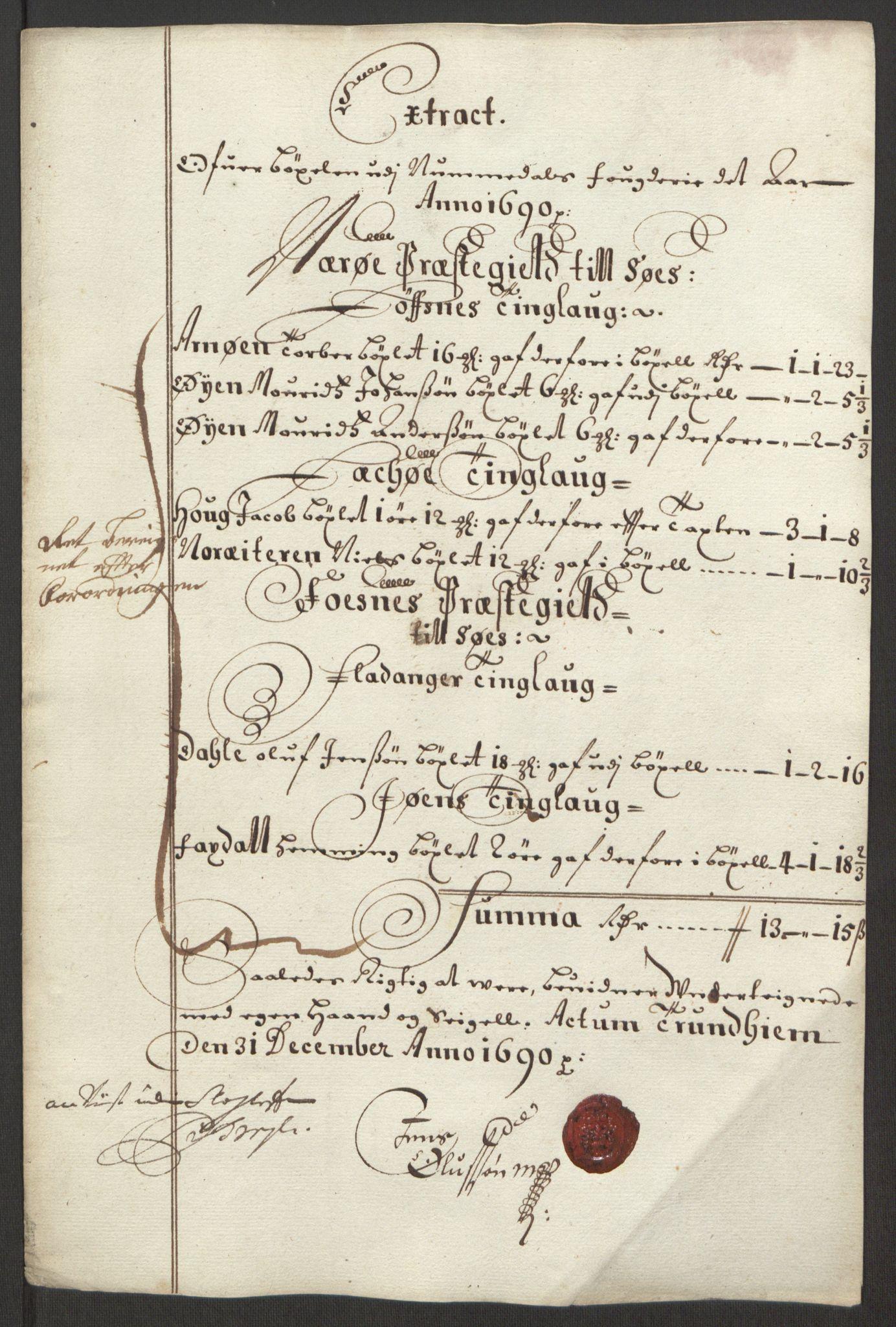RA, Rentekammeret inntil 1814, Reviderte regnskaper, Fogderegnskap, R64/L4423: Fogderegnskap Namdal, 1690-1691, s. 82