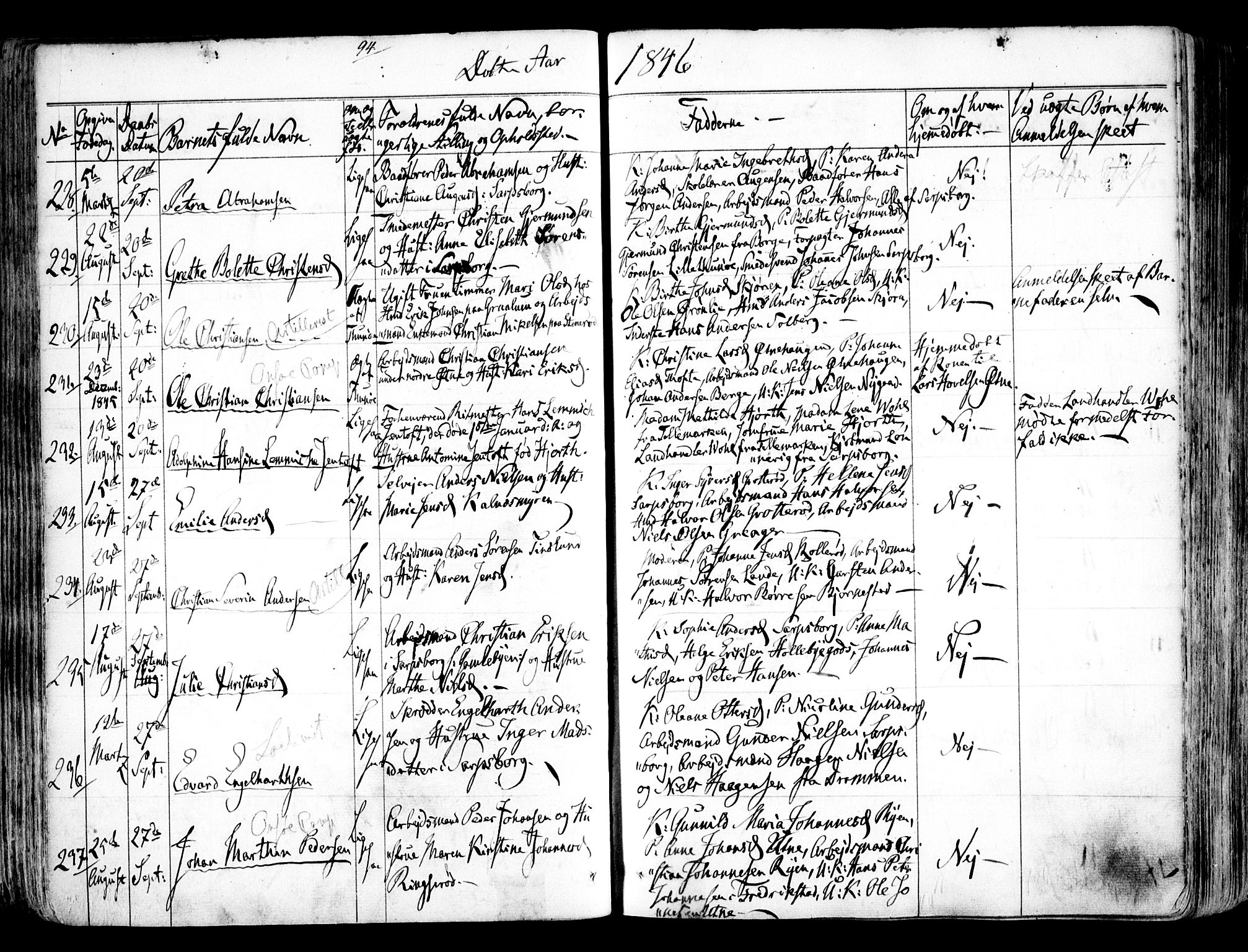 SAO, Tune prestekontor Kirkebøker, F/Fa/L0009: Ministerialbok nr. 9, 1842-1846, s. 94
