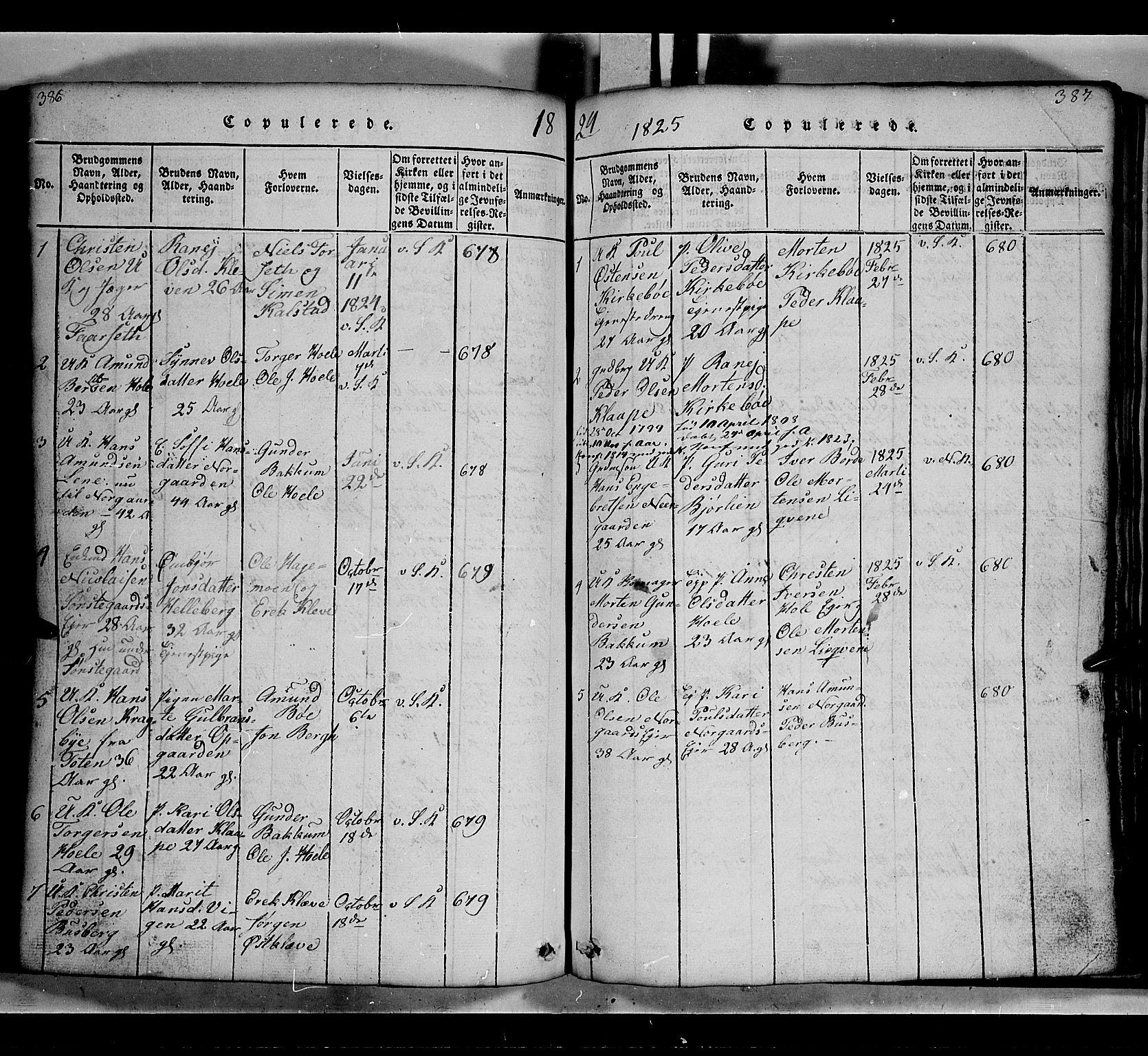 SAH, Gausdal prestekontor, Klokkerbok nr. 2, 1818-1874, s. 386-387