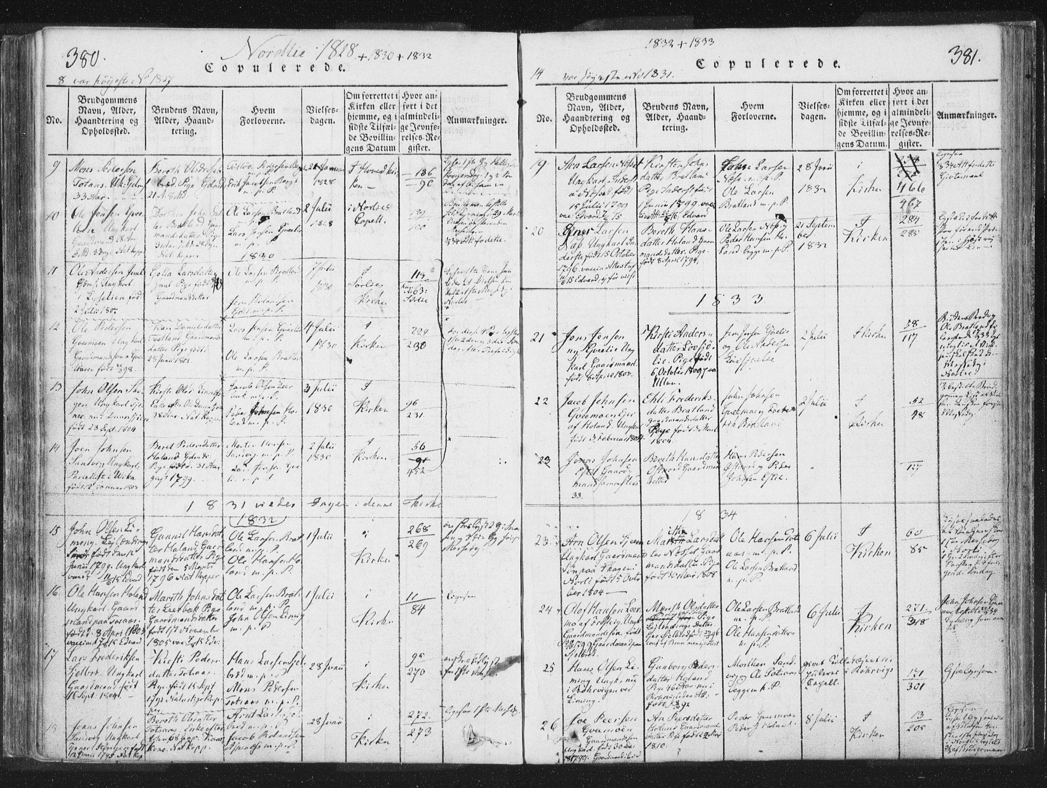 SAT, Ministerialprotokoller, klokkerbøker og fødselsregistre - Nord-Trøndelag, 755/L0491: Ministerialbok nr. 755A01 /1, 1817-1864, s. 380-381