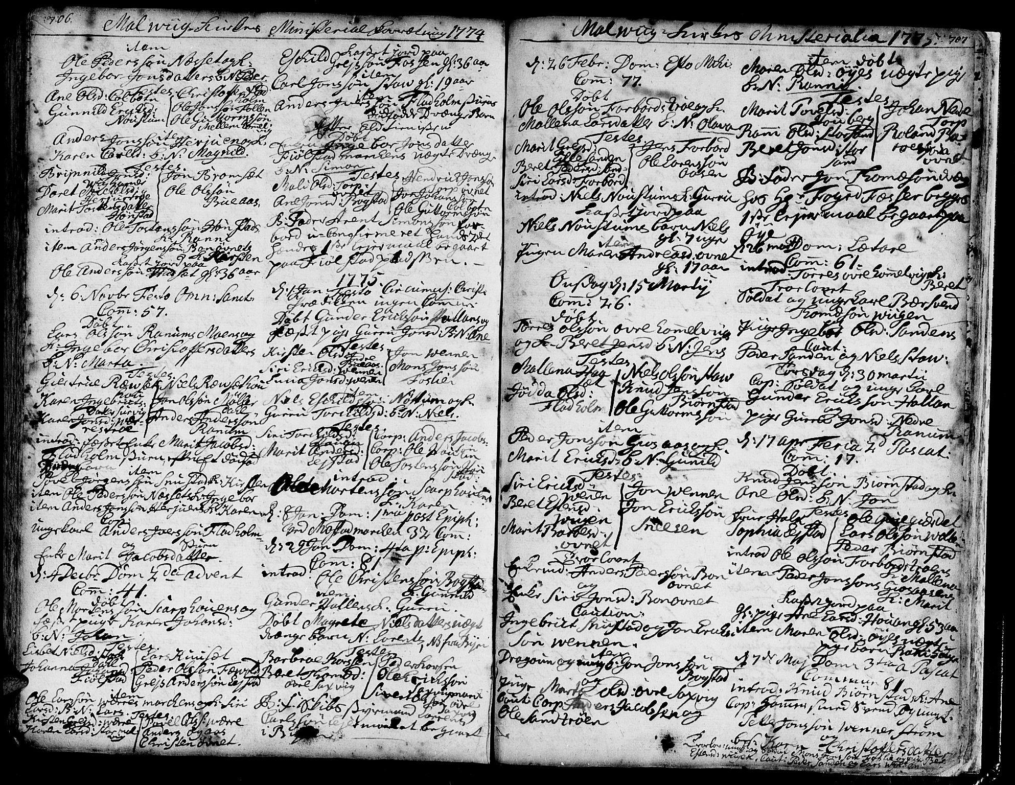 SAT, Ministerialprotokoller, klokkerbøker og fødselsregistre - Sør-Trøndelag, 606/L0277: Ministerialbok nr. 606A01 /3, 1727-1780, s. 706-707