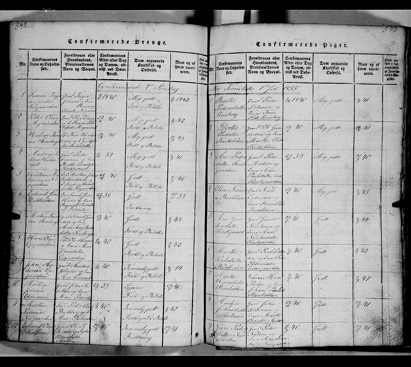SAH, Gausdal prestekontor, Klokkerbok nr. 2, 1818-1874, s. 542-543