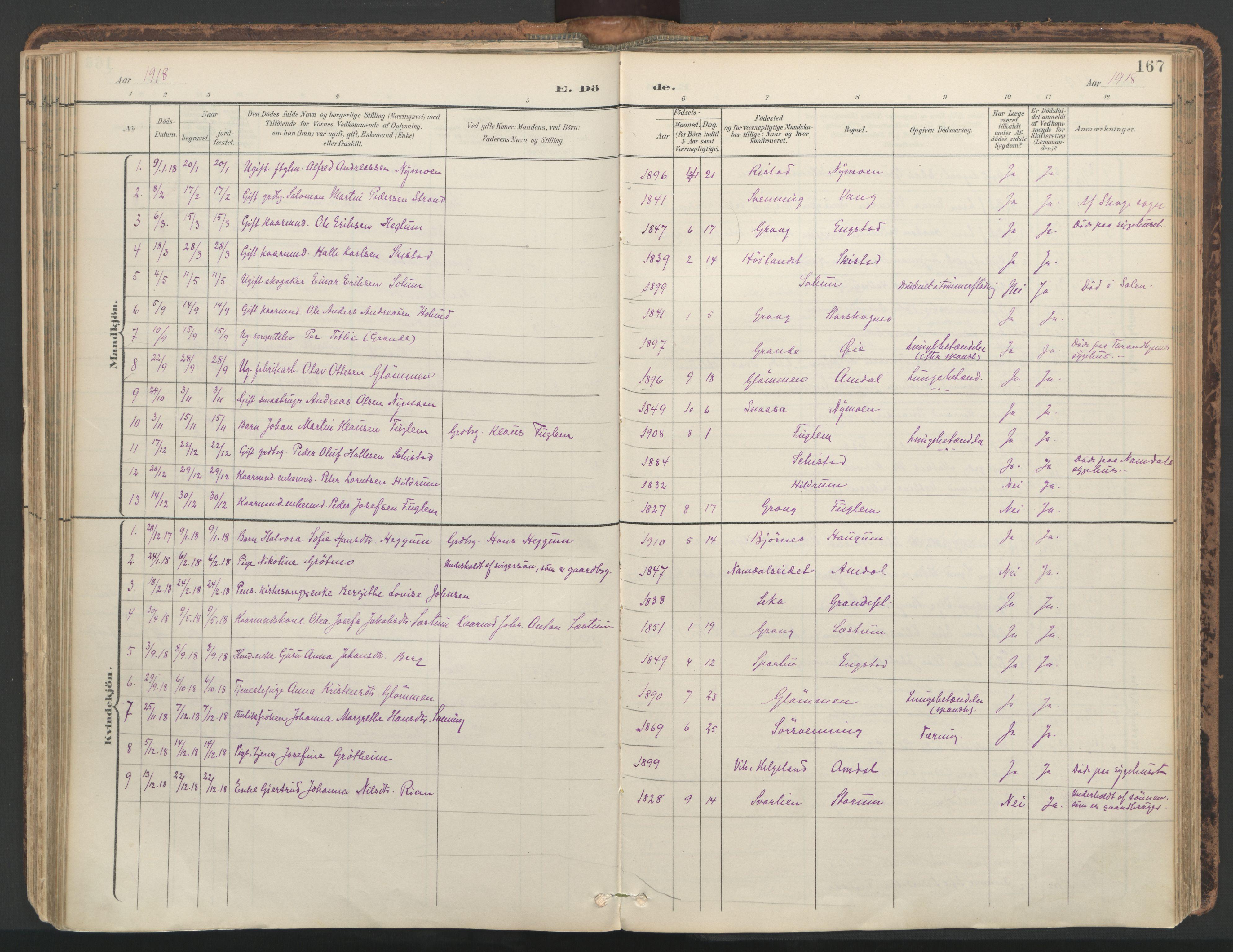 SAT, Ministerialprotokoller, klokkerbøker og fødselsregistre - Nord-Trøndelag, 764/L0556: Ministerialbok nr. 764A11, 1897-1924, s. 167
