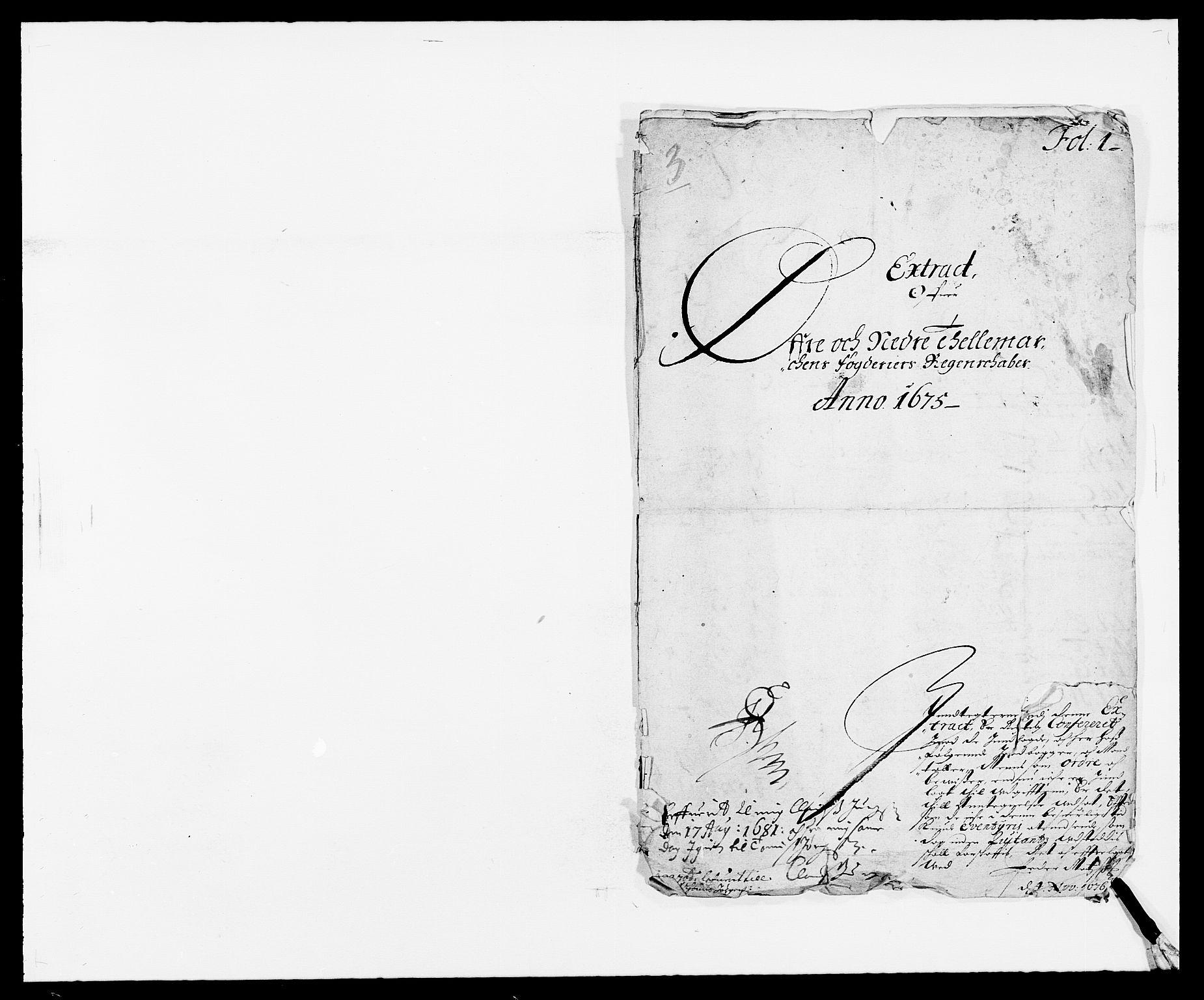 RA, Rentekammeret inntil 1814, Reviderte regnskaper, Fogderegnskap, R35/L2063: Fogderegnskap Øvre og Nedre Telemark, 1675, s. 1