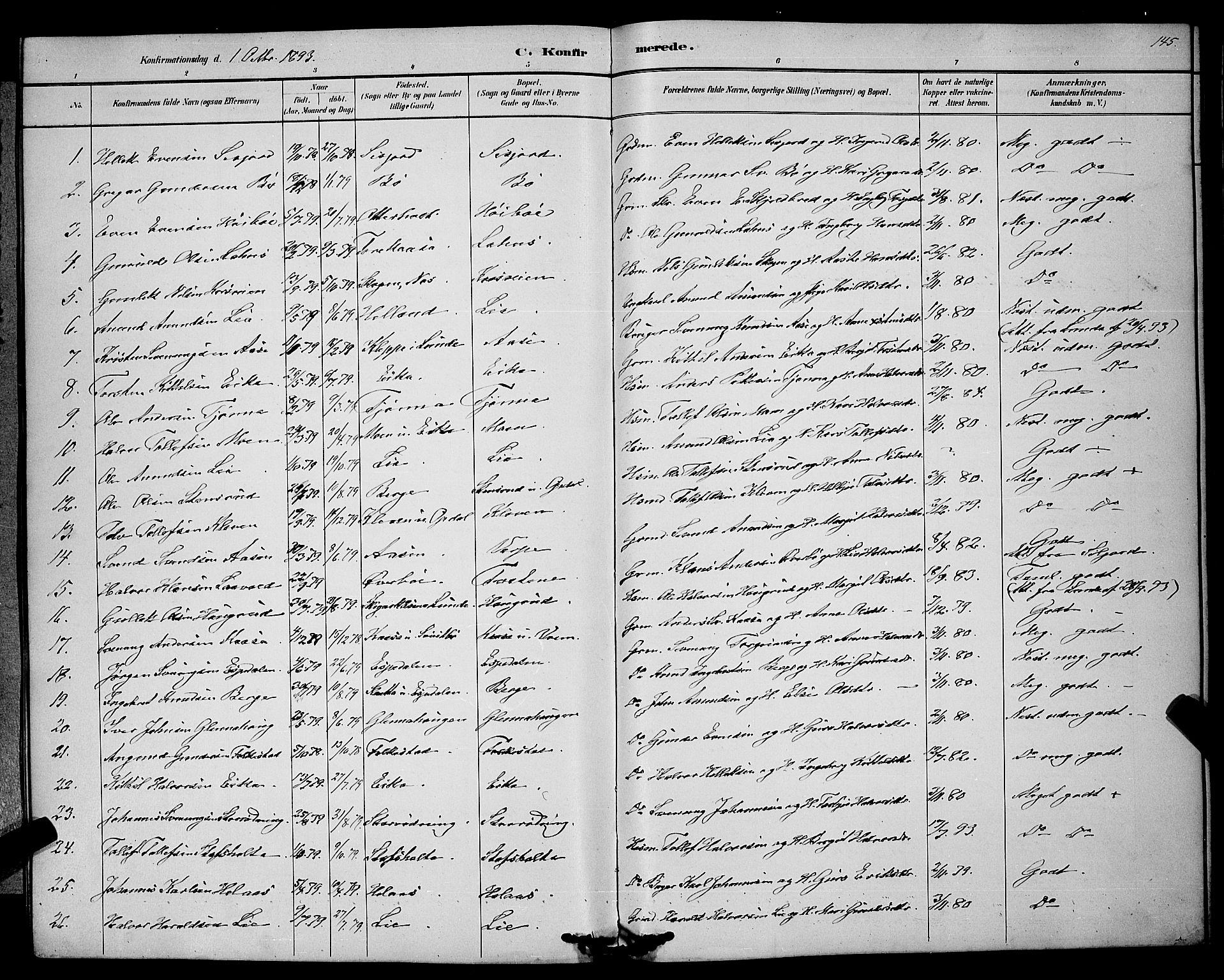 SAKO, Bø kirkebøker, G/Ga/L0005: Klokkerbok nr. 5, 1883-1897, s. 145