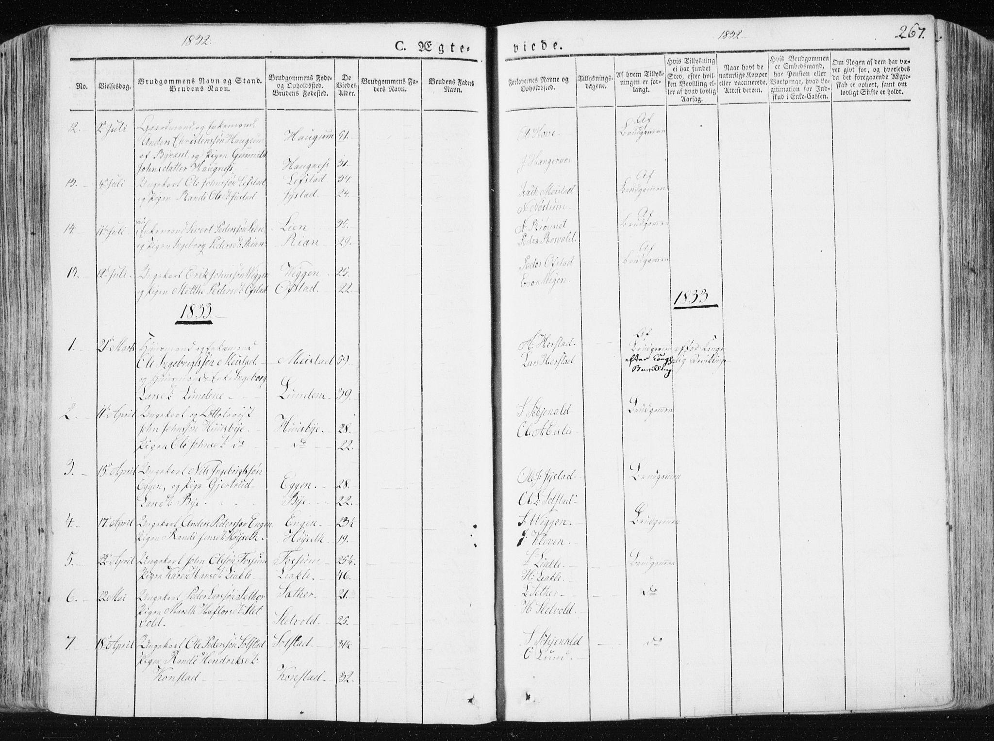 SAT, Ministerialprotokoller, klokkerbøker og fødselsregistre - Sør-Trøndelag, 665/L0771: Ministerialbok nr. 665A06, 1830-1856, s. 267
