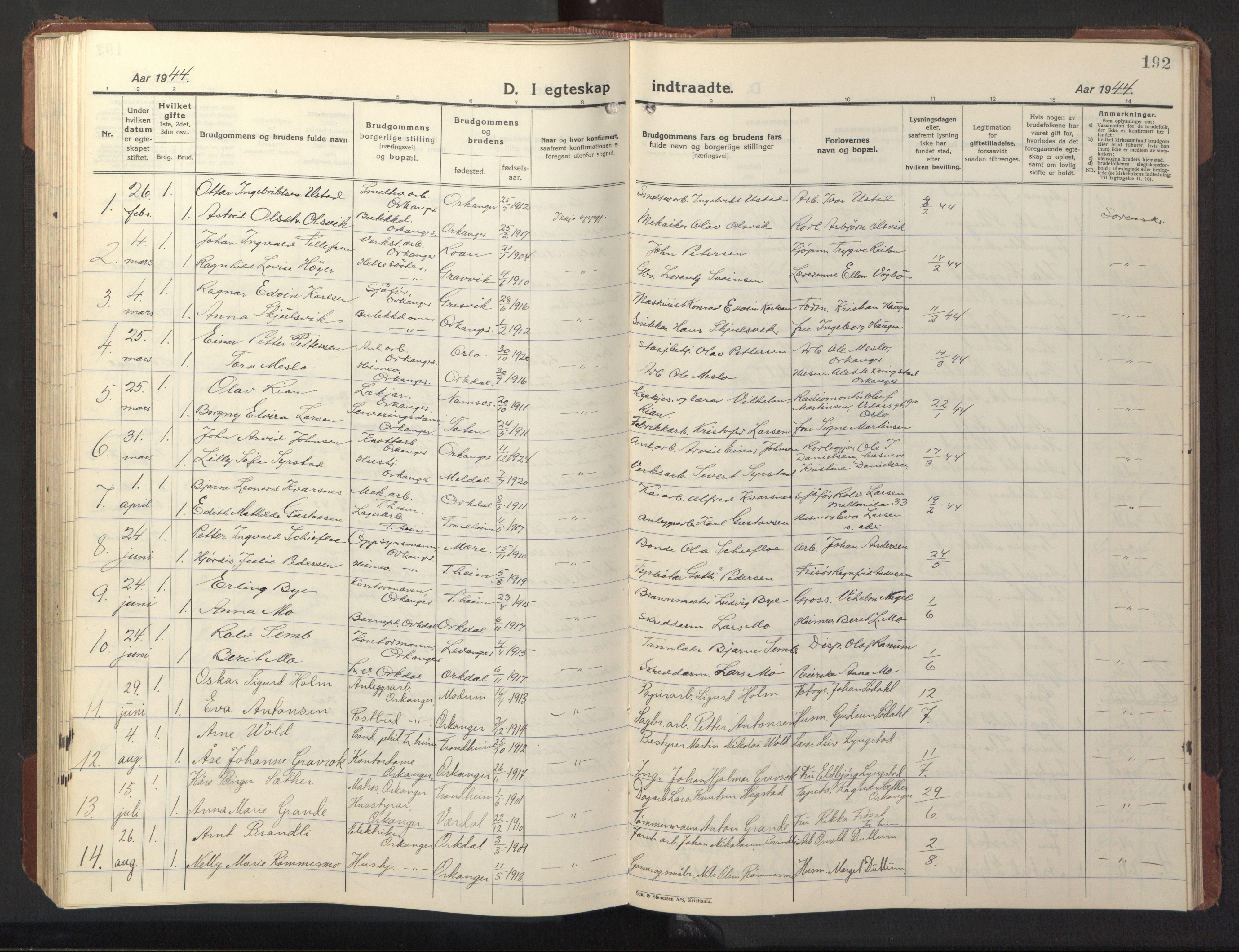 SAT, Ministerialprotokoller, klokkerbøker og fødselsregistre - Sør-Trøndelag, 669/L0832: Klokkerbok nr. 669C02, 1925-1953, s. 192