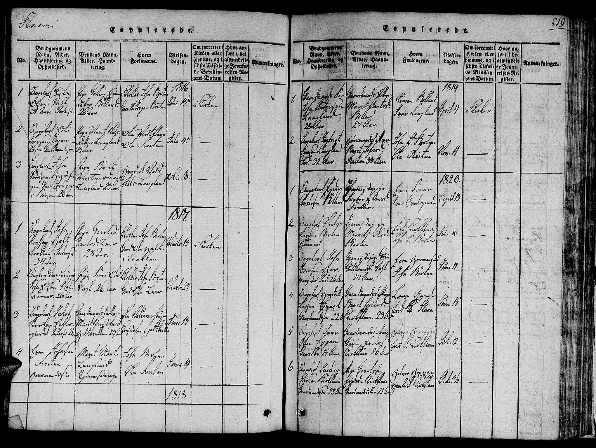 SAT, Ministerialprotokoller, klokkerbøker og fødselsregistre - Sør-Trøndelag, 691/L1066: Ministerialbok nr. 691A03 /2, 1816-1826, s. 219