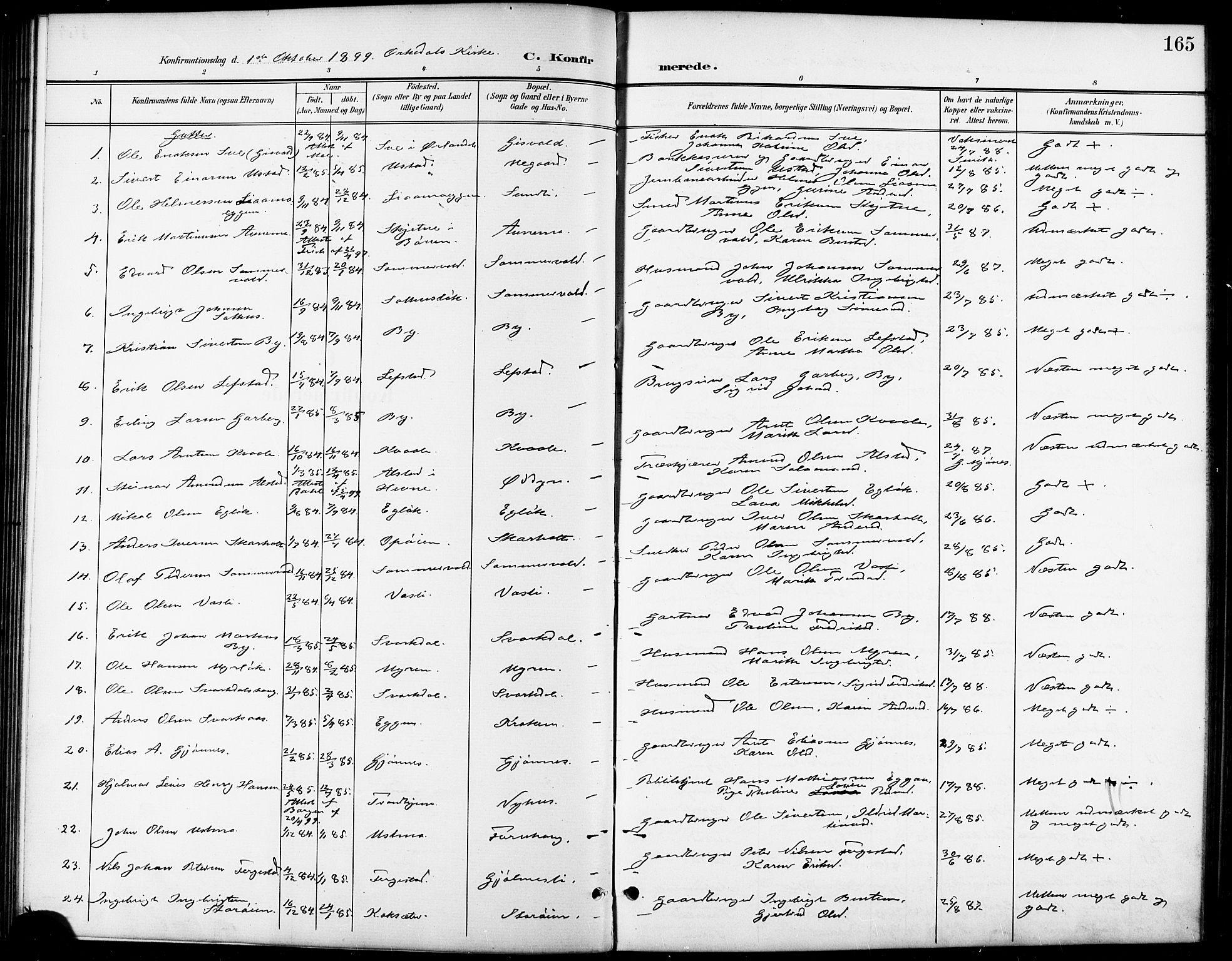SAT, Ministerialprotokoller, klokkerbøker og fødselsregistre - Sør-Trøndelag, 668/L0819: Klokkerbok nr. 668C08, 1899-1912, s. 165