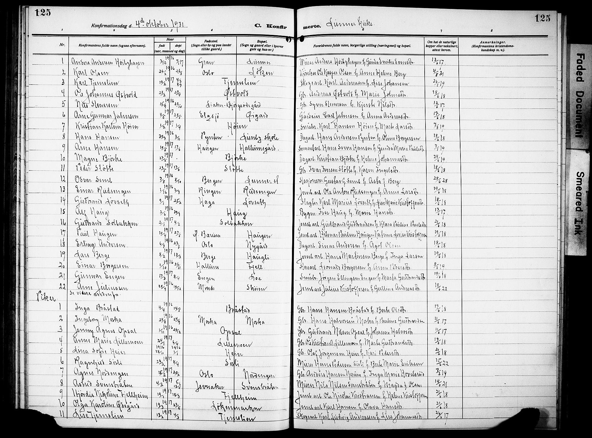 SAH, Lunner prestekontor, H/Ha/Hab/L0002: Klokkerbok nr. 2, 1923-1933, s. 125