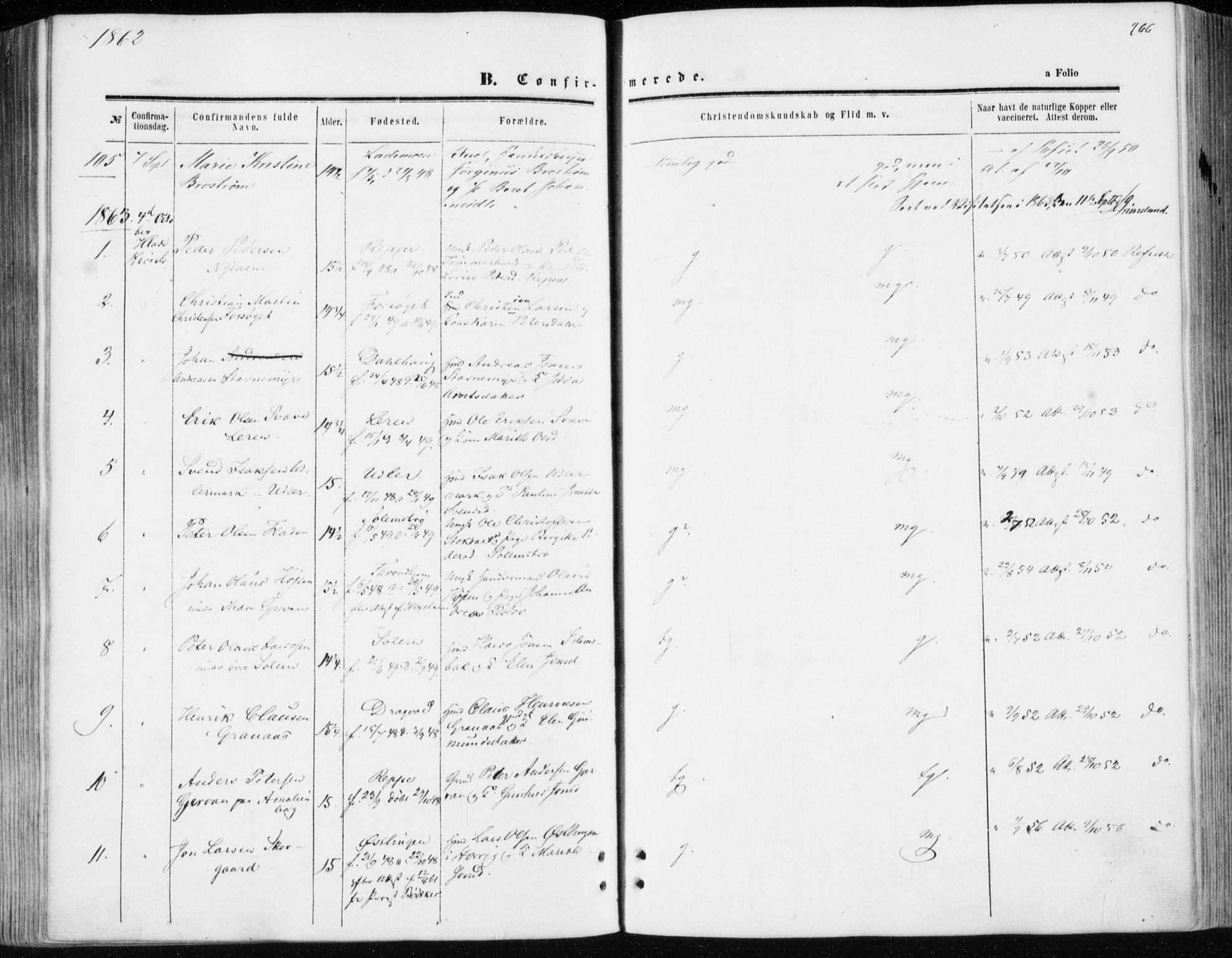 SAT, Ministerialprotokoller, klokkerbøker og fødselsregistre - Sør-Trøndelag, 606/L0292: Ministerialbok nr. 606A07, 1856-1865, s. 266