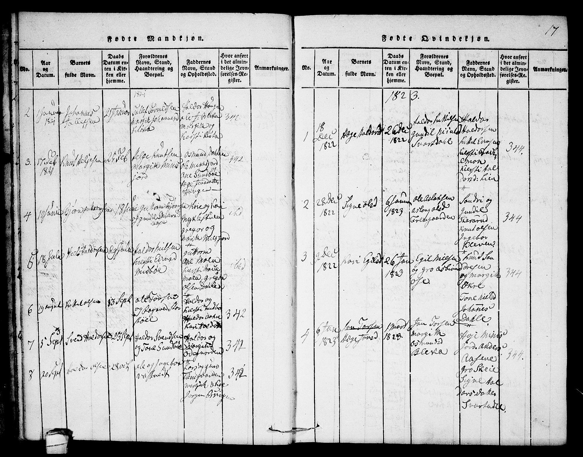 SAKO, Seljord kirkebøker, F/Fb/L0001: Ministerialbok nr. II 1, 1815-1831, s. 17