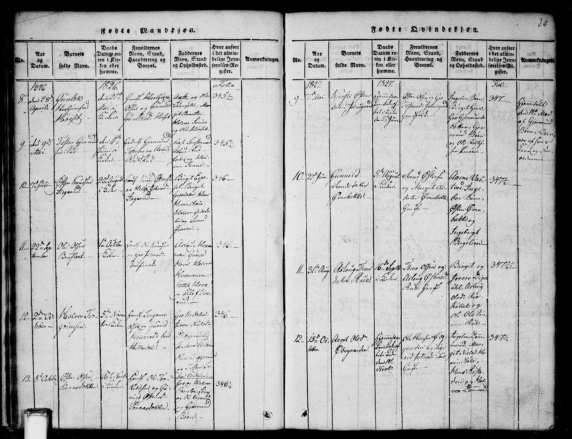 SAKO, Gransherad kirkebøker, G/Gb/L0001: Klokkerbok nr. II 1, 1815-1860, s. 26