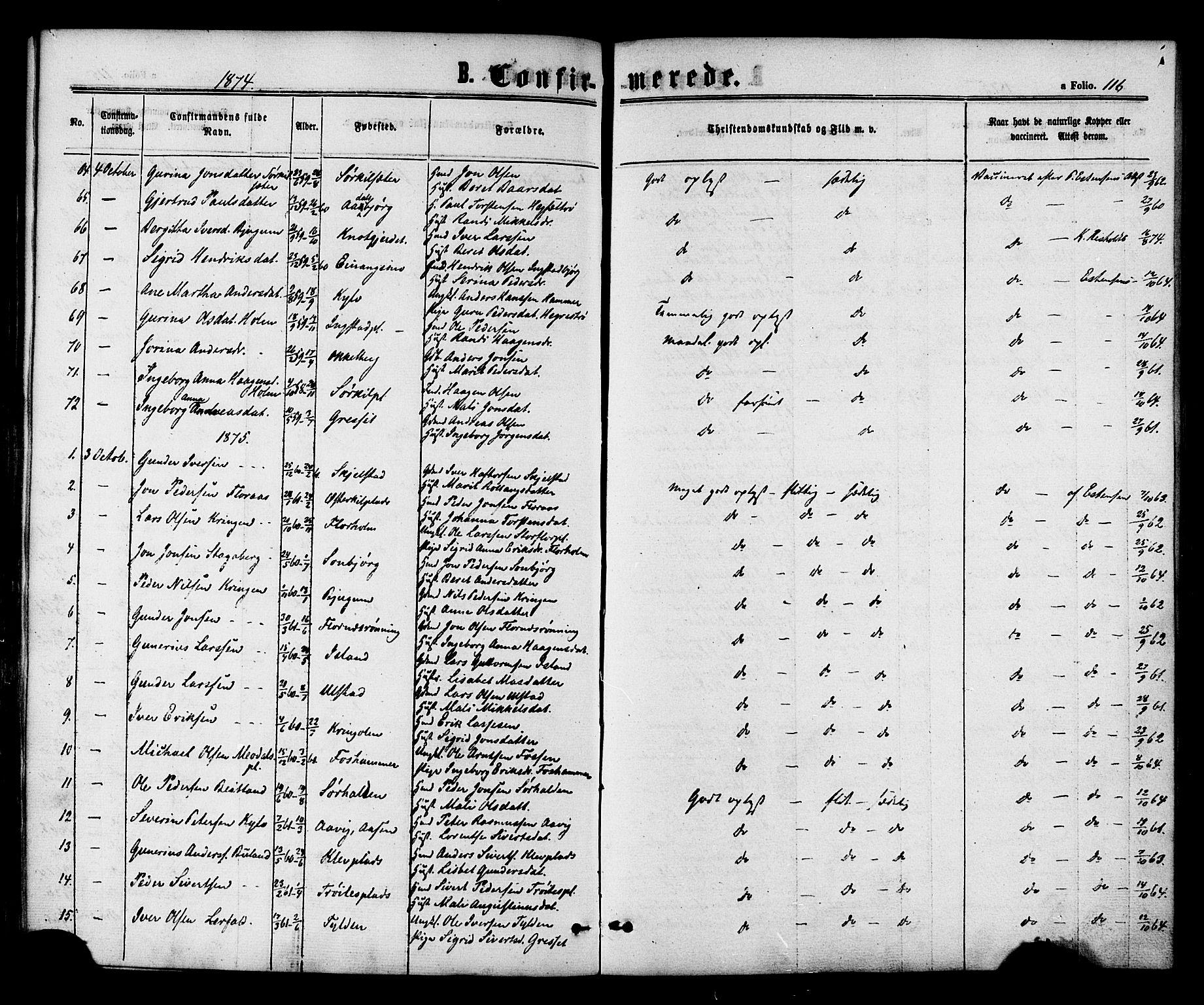 SAT, Ministerialprotokoller, klokkerbøker og fødselsregistre - Nord-Trøndelag, 703/L0029: Ministerialbok nr. 703A02, 1863-1879, s. 116