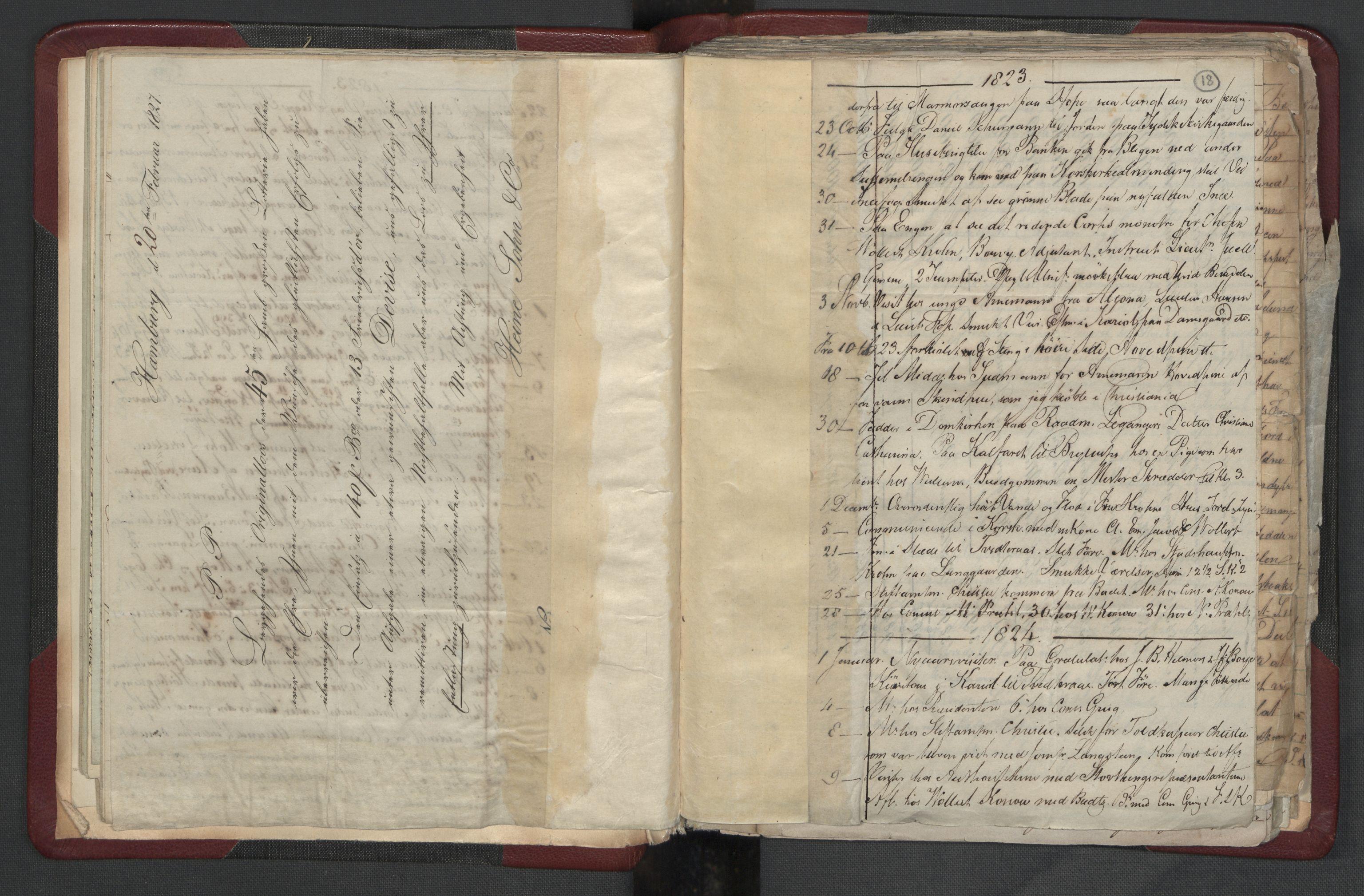 RA, Meltzer, Fredrik, F/L0004: Dagbok, 1822-1830, s. 17b-18a