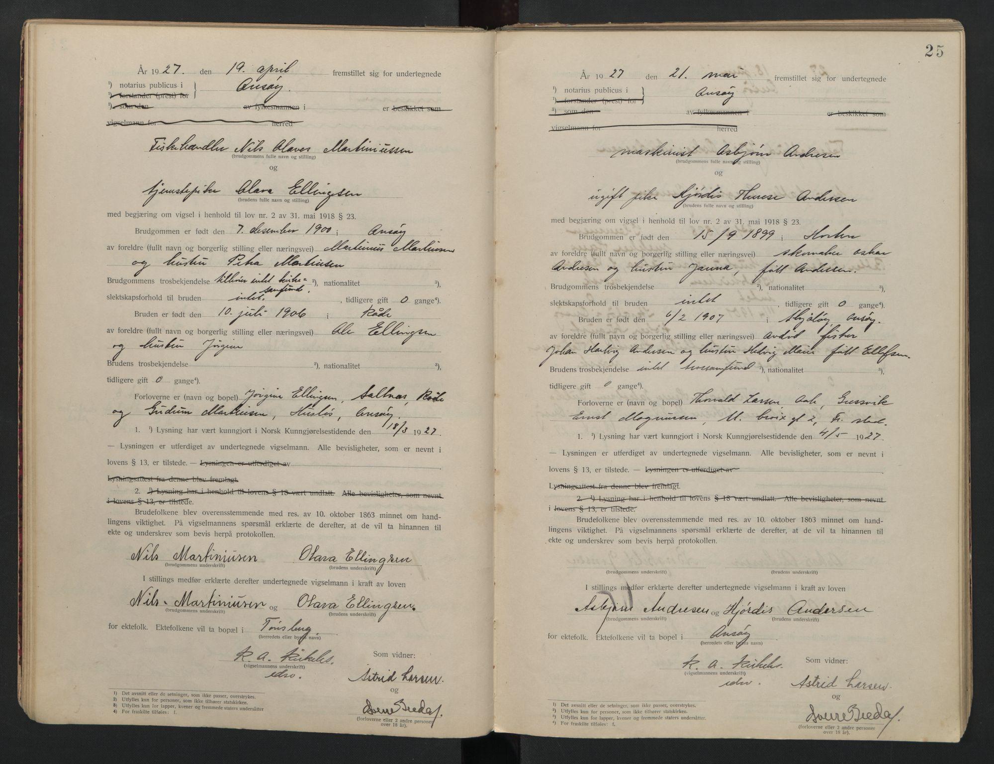 SAO, Onsøy sorenskriveri, L/La/L0001: Vigselsbok, 1920-1942, s. 25