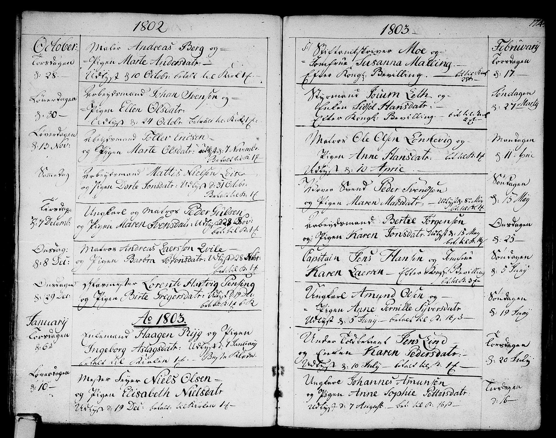 SAKO, Strømsø kirkebøker, F/Fa/L0010: Ministerialbok nr. I 10, 1792-1822, s. 174