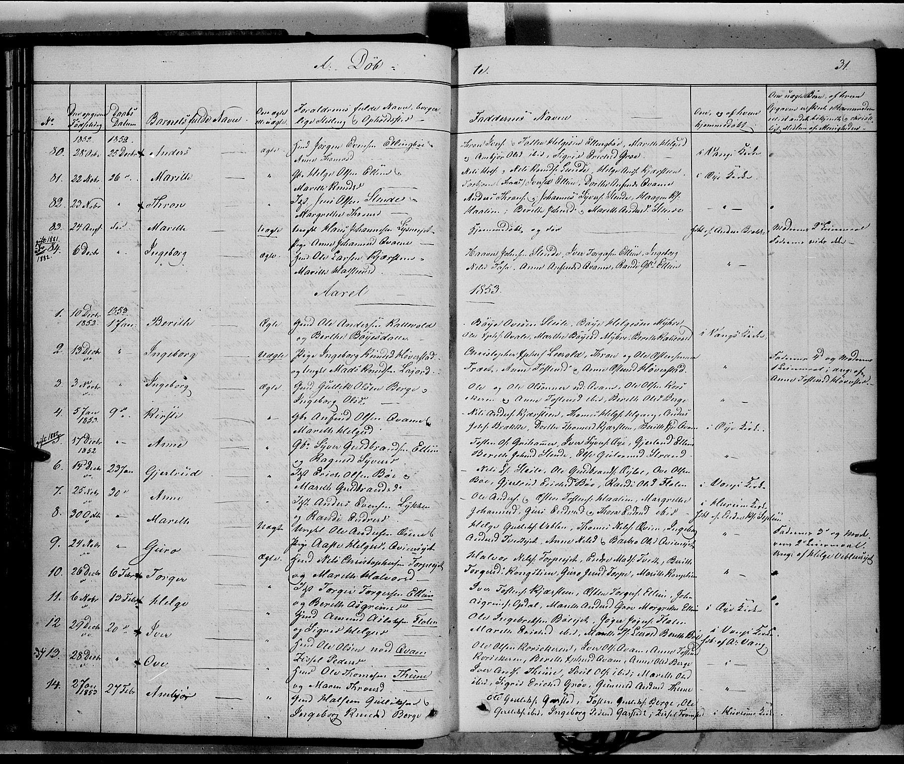 SAH, Vang prestekontor, Valdres, Ministerialbok nr. 6, 1846-1864, s. 31