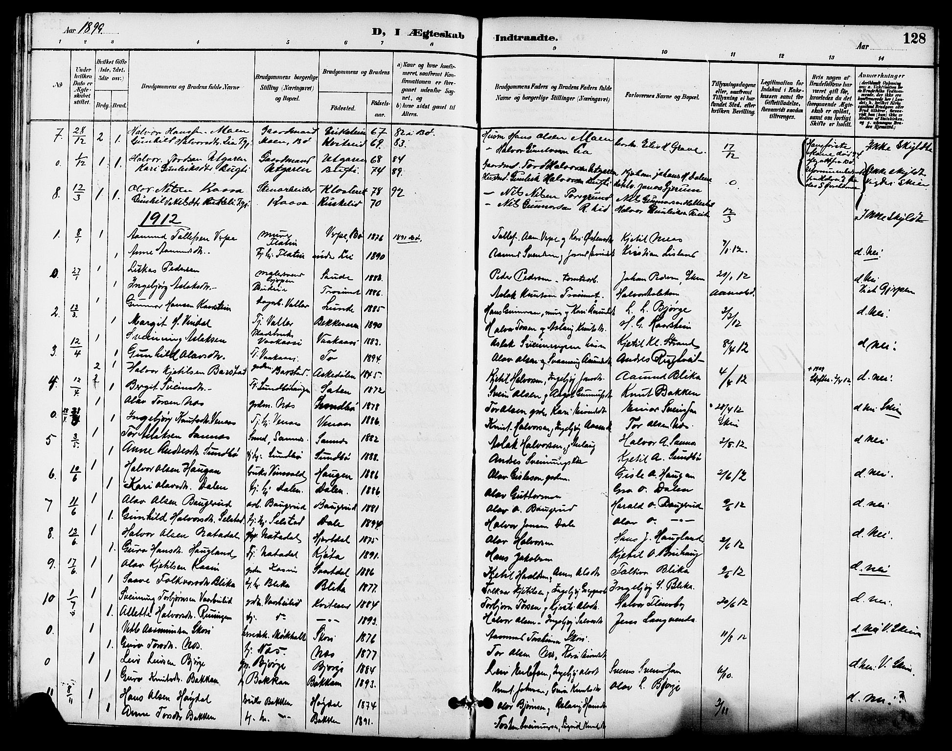 SAKO, Seljord kirkebøker, G/Ga/L0005: Klokkerbok nr. I 5, 1887-1914, s. 128