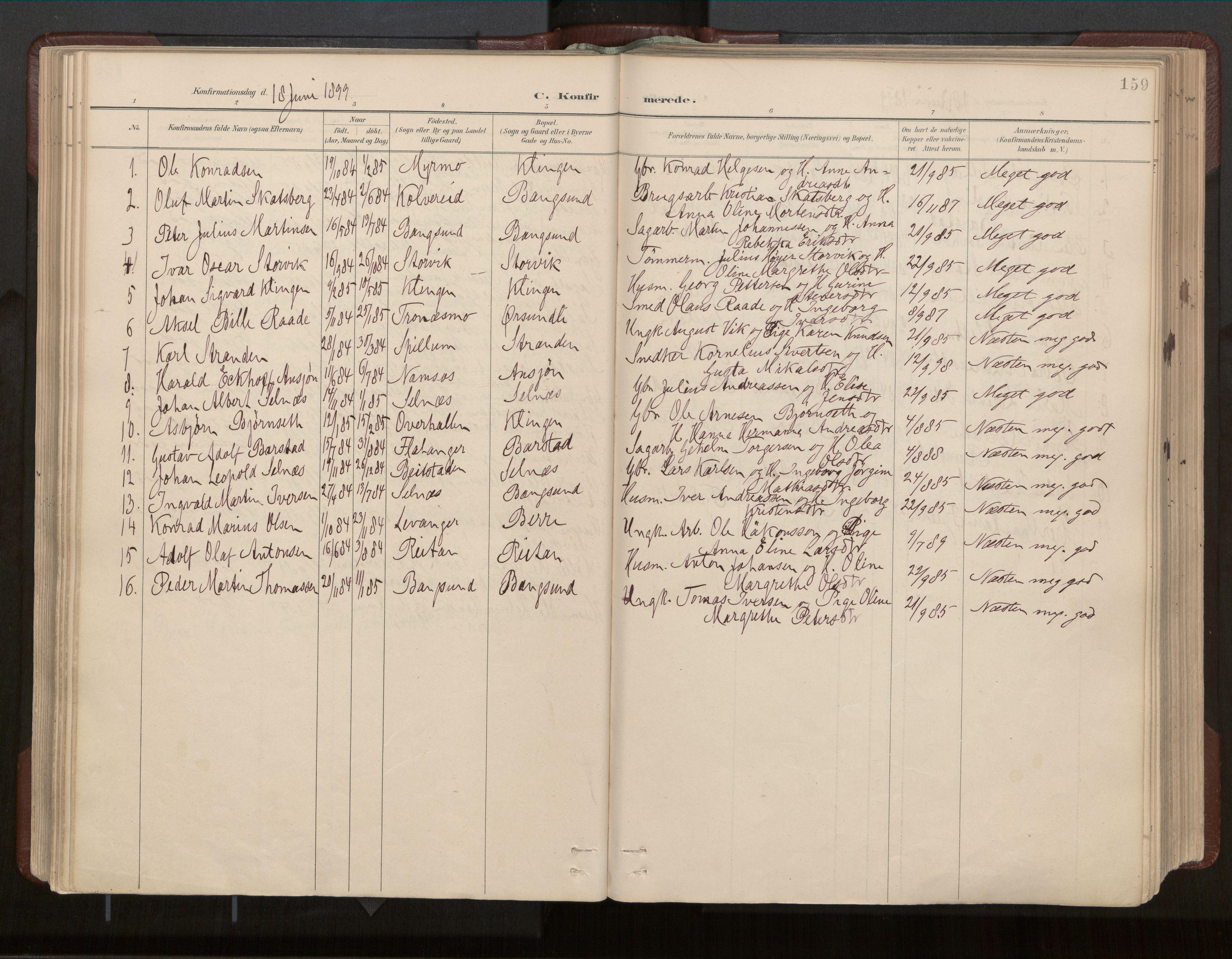SAT, Ministerialprotokoller, klokkerbøker og fødselsregistre - Nord-Trøndelag, 770/L0589: Ministerialbok nr. 770A03, 1887-1929, s. 159
