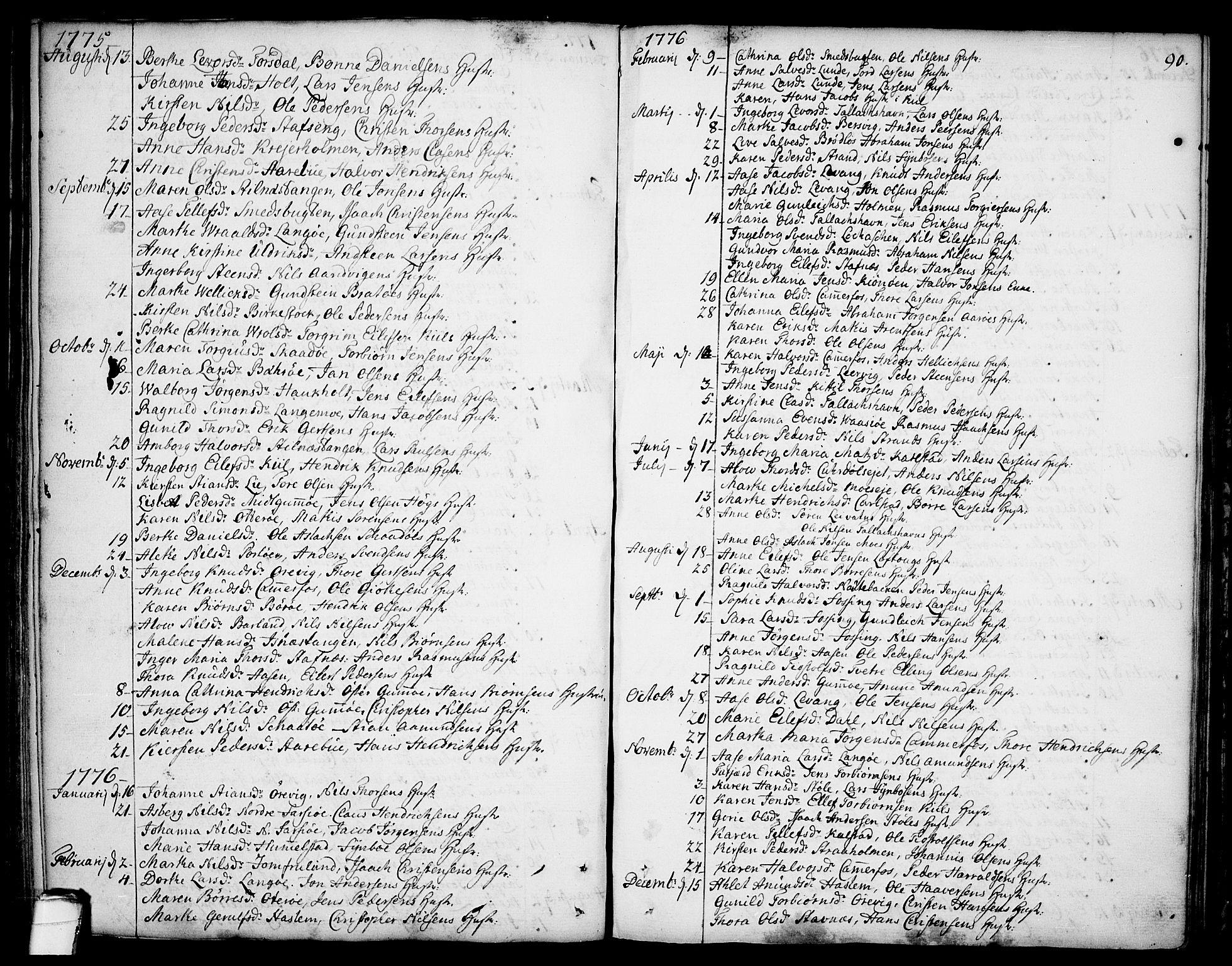 SAKO, Sannidal kirkebøker, F/Fa/L0002: Ministerialbok nr. 2, 1767-1802, s. 90